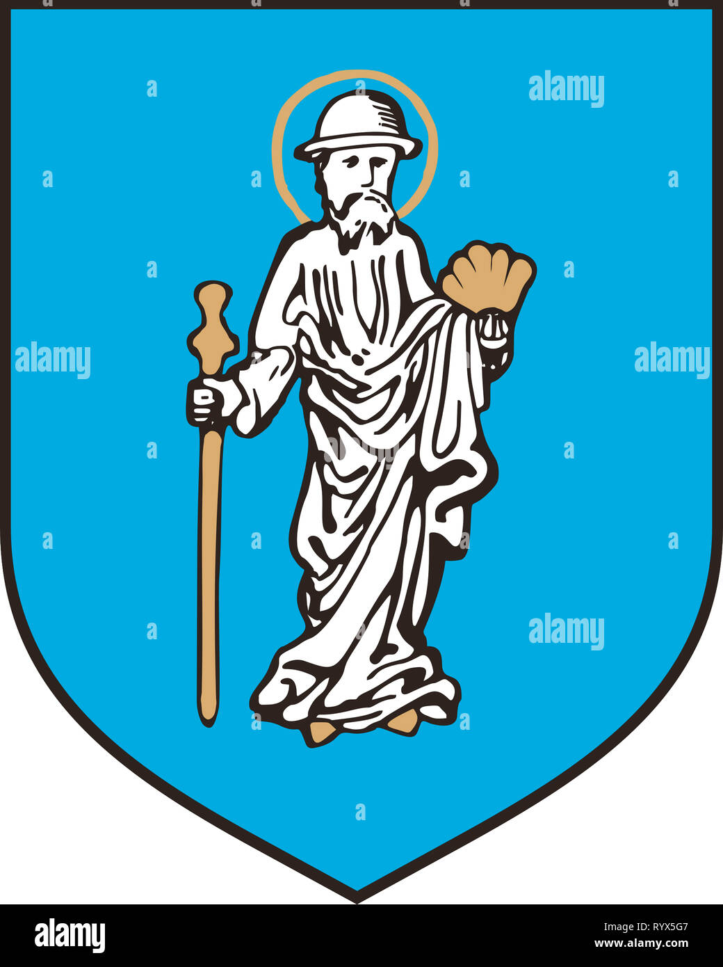 Coat of arms of the Polish city of Olsztyn - Poland. - Stock Image