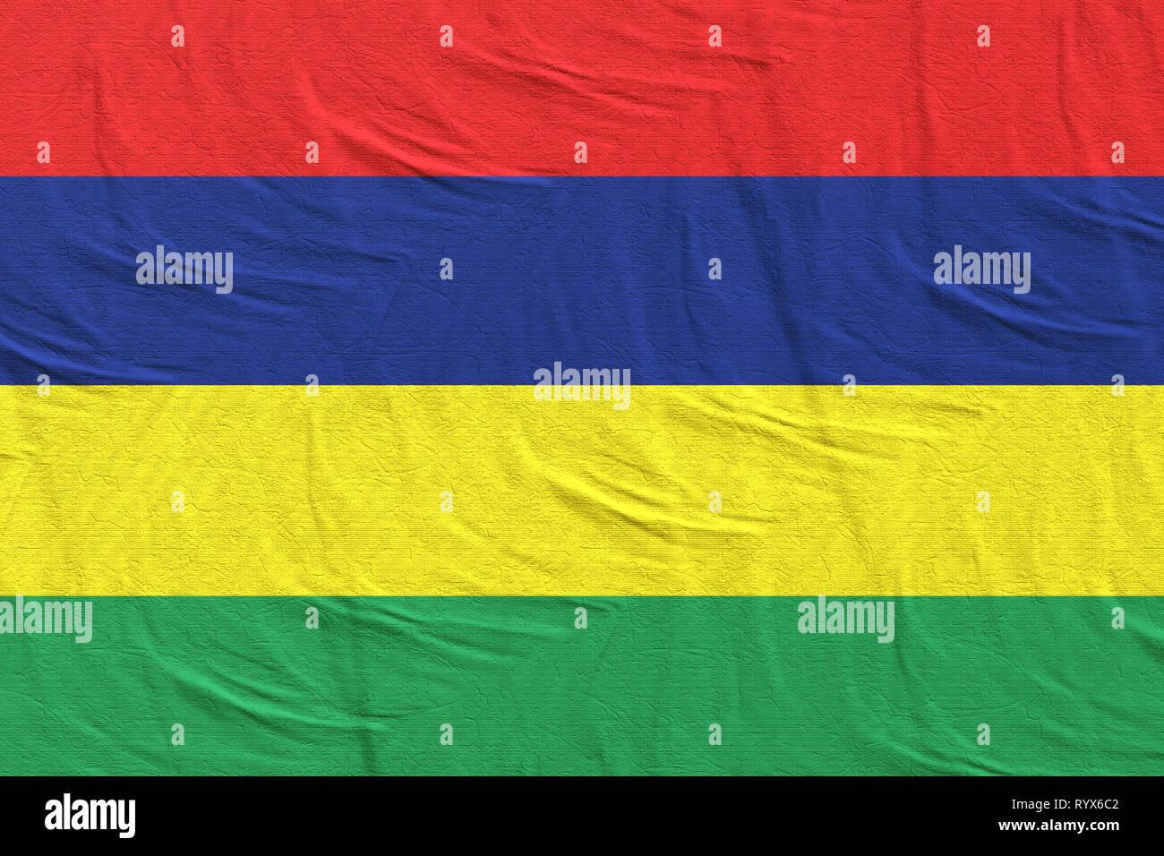3d rendering of Republic of Mauritius flag - Stock Image