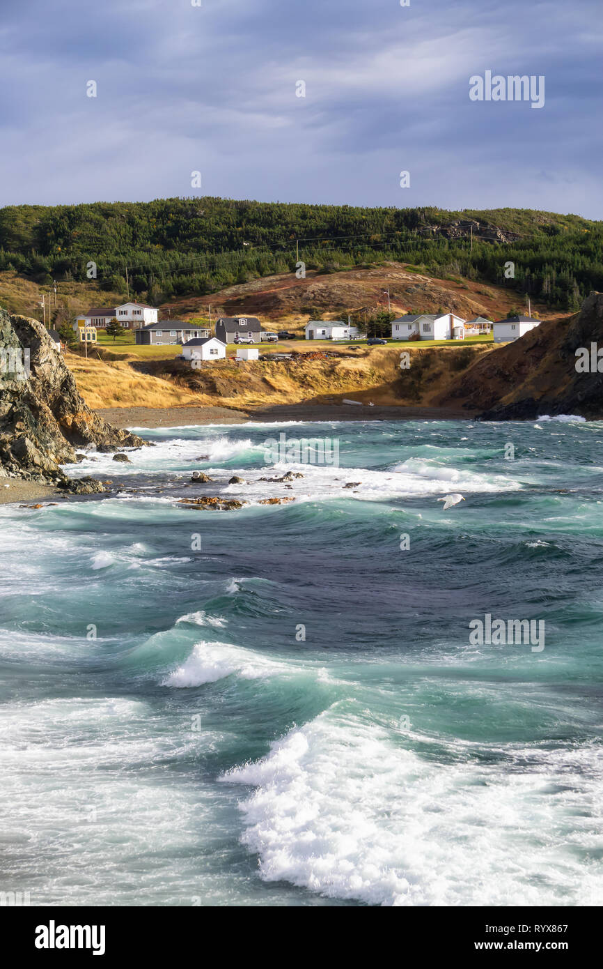 View of a raging ocean on the Atlantic Coast during a stormy and windy day. Taken in Crow Head, North Twillingate Island, Newfoundland and Labrador, C Stock Photo