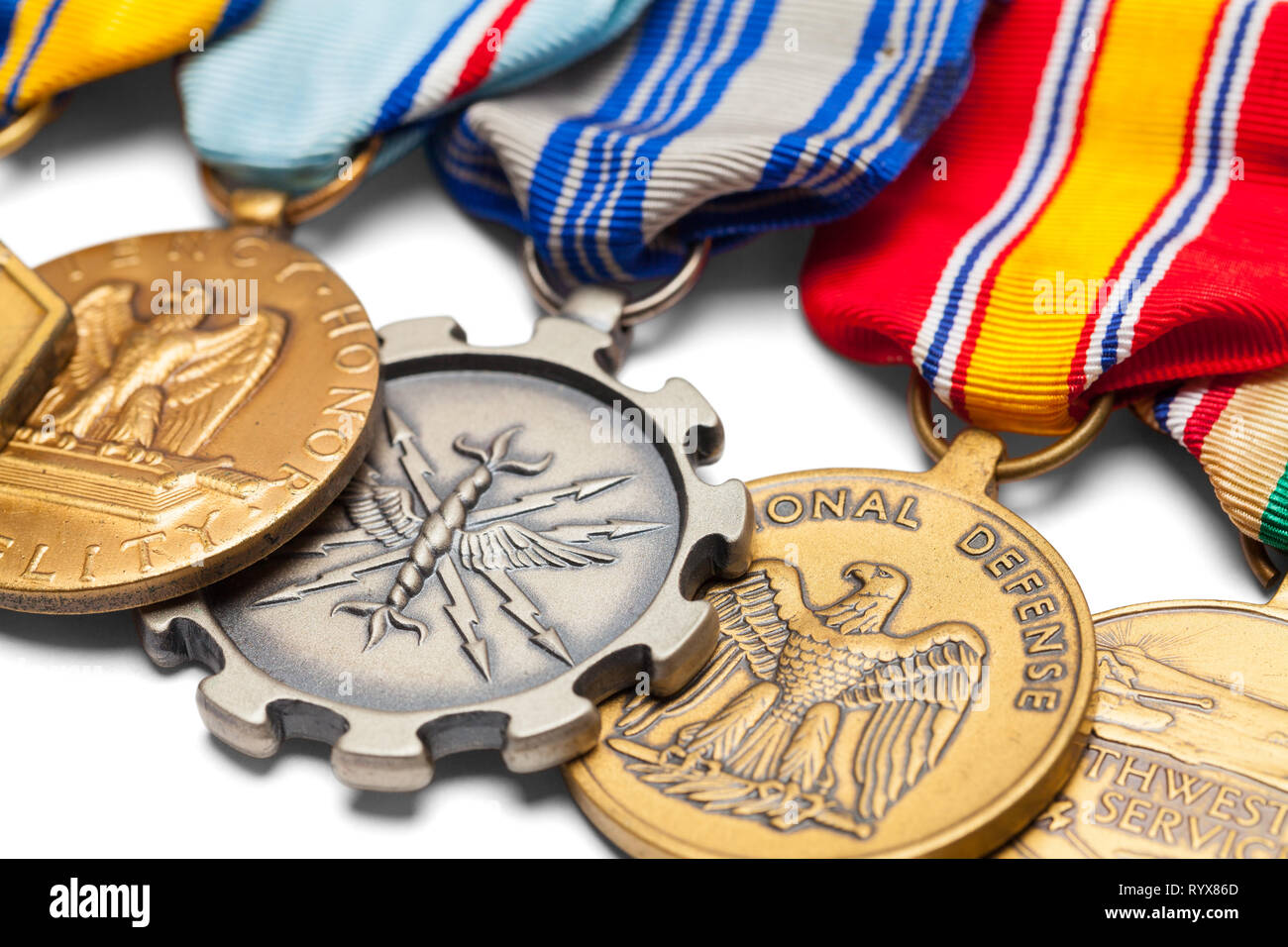 Close Up of US Military Medals in a Row. - Stock Image