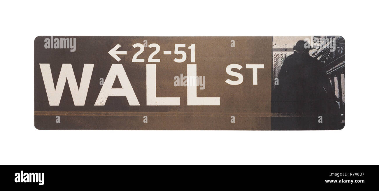 Wall Street Sign Isolated on a White Background. - Stock Image