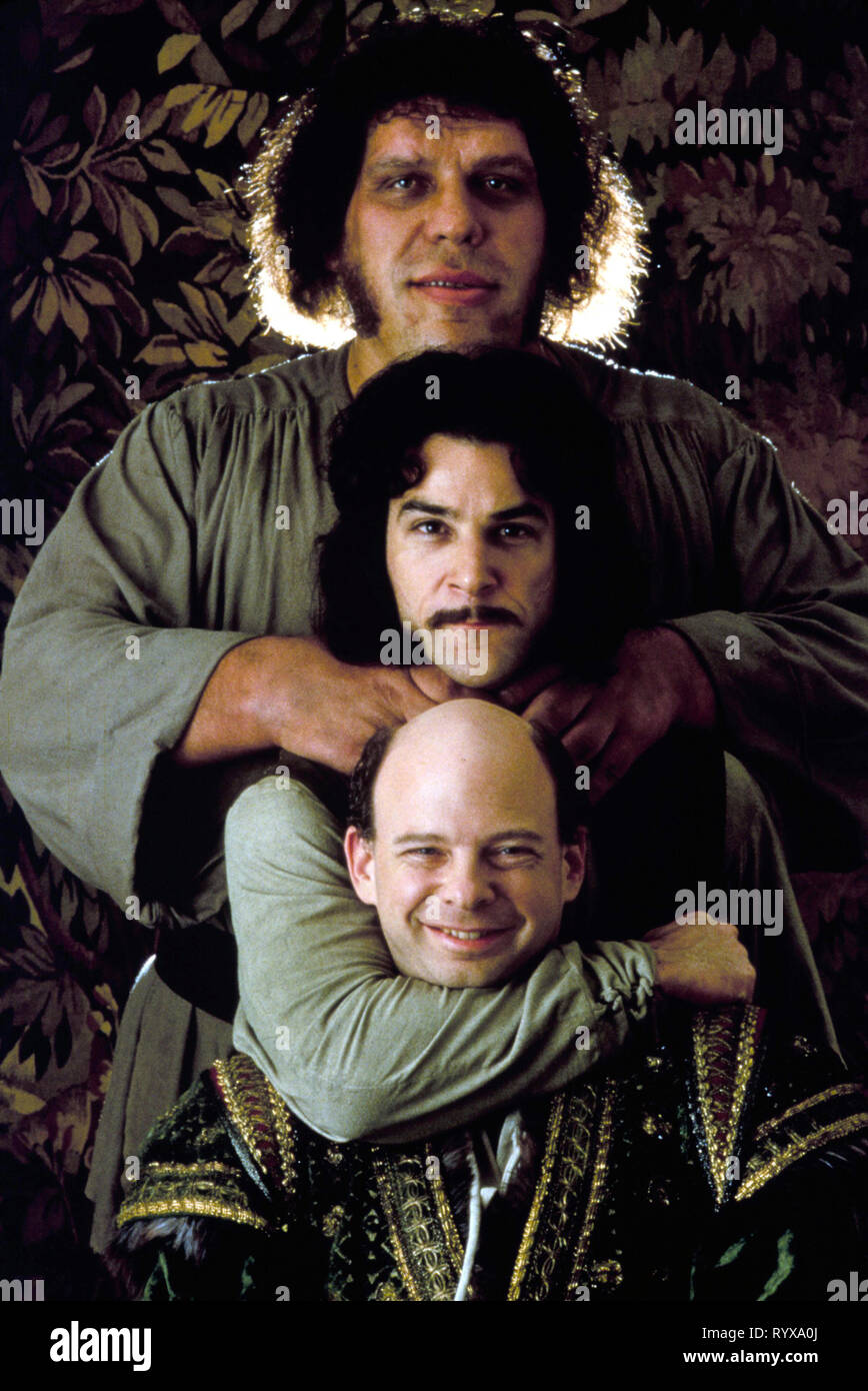 MANDY PATINKIN, ANDRE THE GIANT, WALLACE SHAWN, THE PRINCESS BRIDE, 1987 Stock Photo