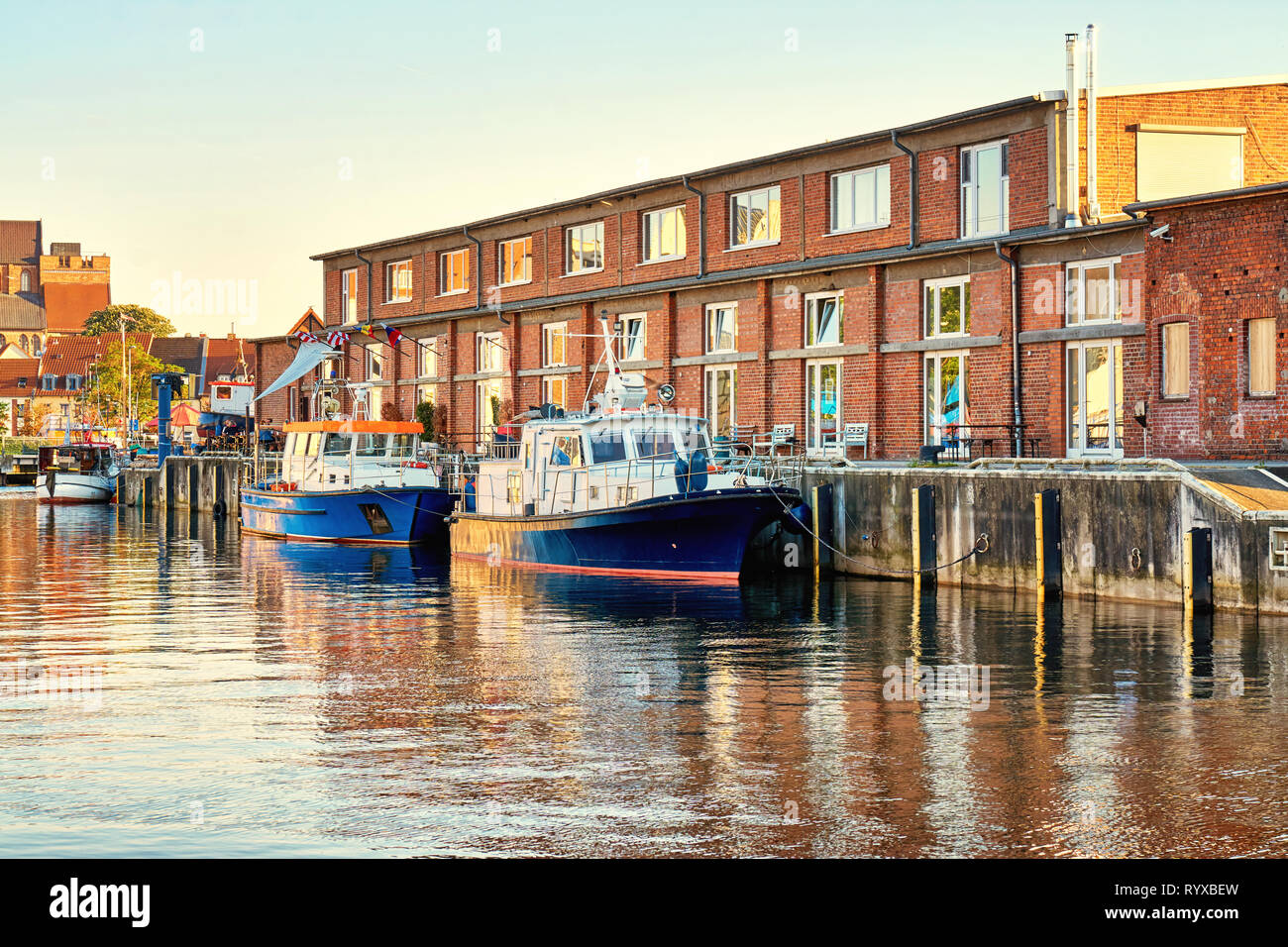 Fishing boats in the harbor of Wismar. Baltic Sea in Mecklenburg Vorpommern. Germany - Stock Image