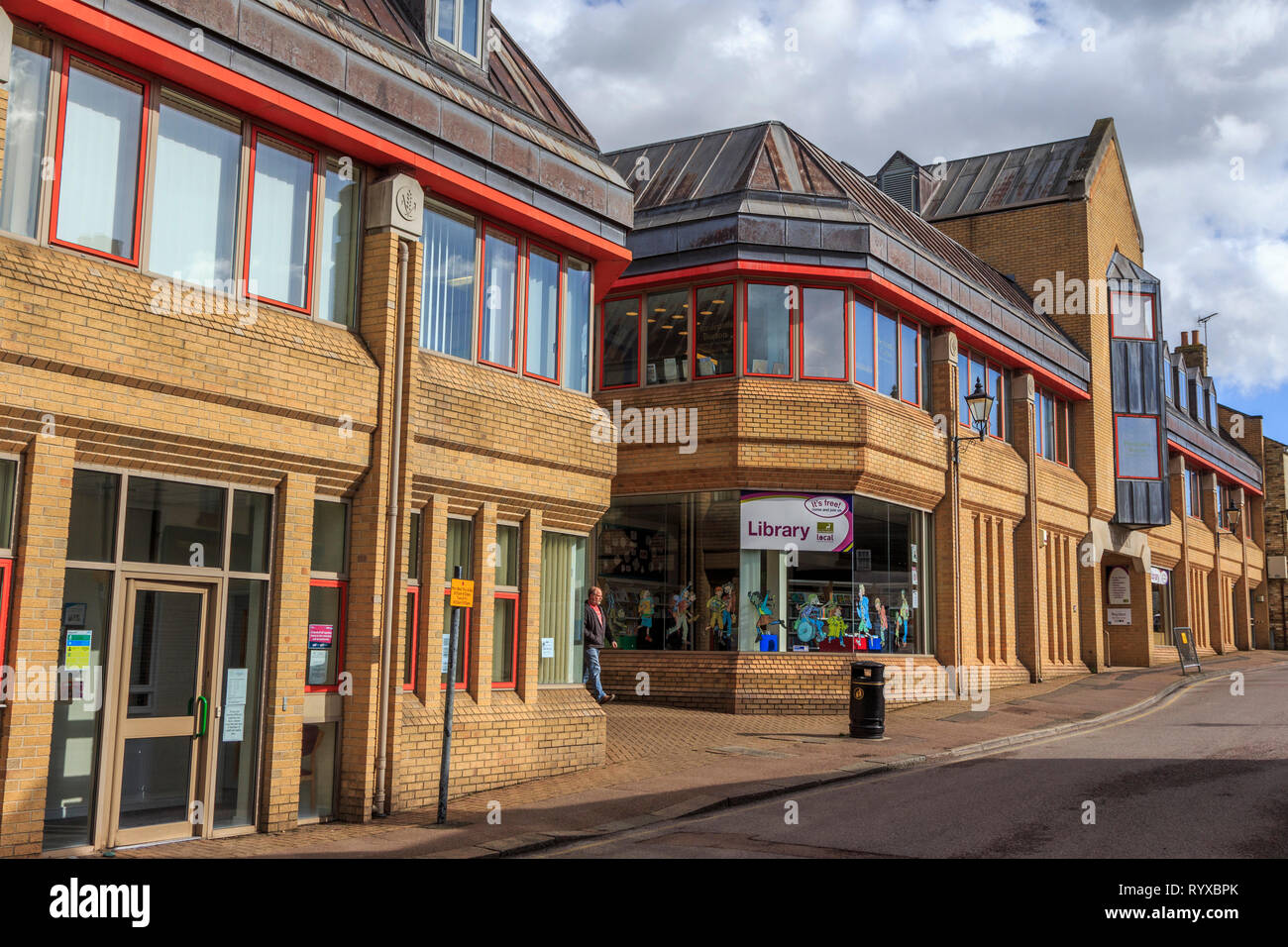 royston village the old library development , town centre, high street, hertfordshire, england, uk gb - Stock Image