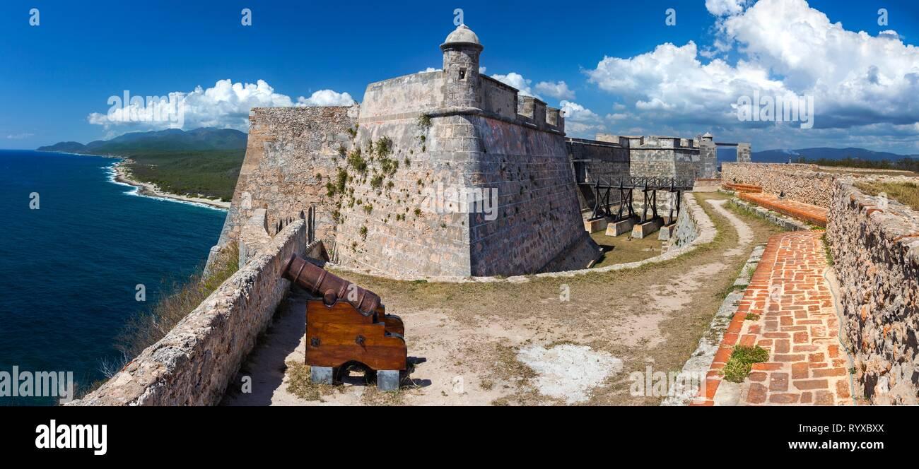 Wide Panoramic View of Castillo del Morro or San Pedro de la Roca Castle Fort on Santiago de Cuba coast, a UNESCO World Heritage Site - Stock Image