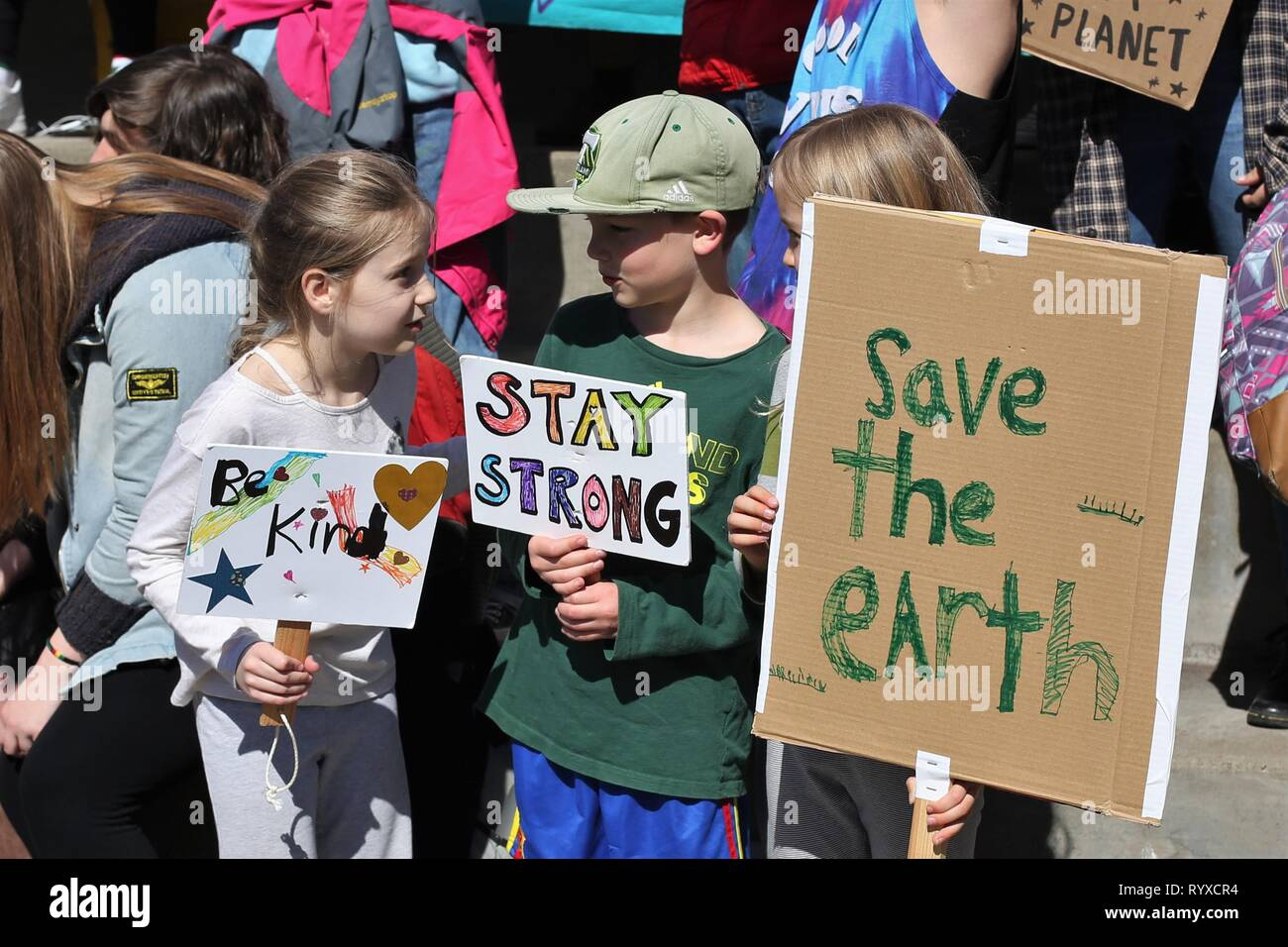 at the Global Climate Strike rally in Eugene, Oregon, USA. - Stock Image
