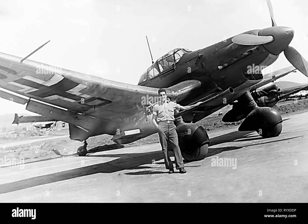 Personal photographs and memorabilia of fighting Americans during the Second World War. Caught German Junkers JU 87 dive bomber. - Stock Image