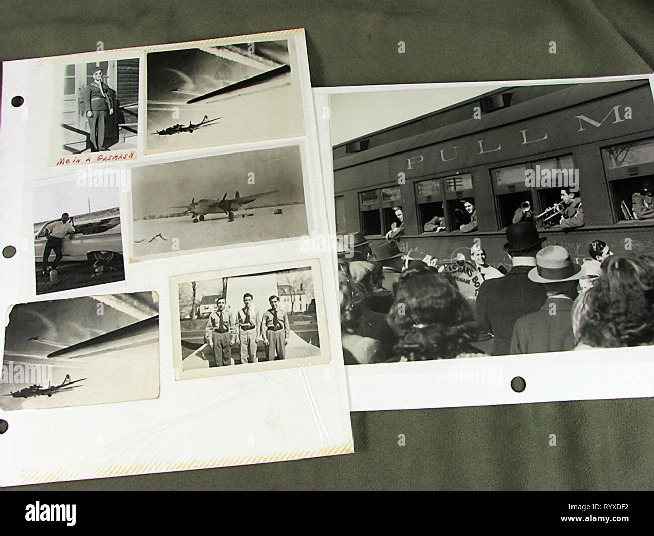 Personal photographs and memorabilia of fighting Americans during the Second World War. - Stock Image