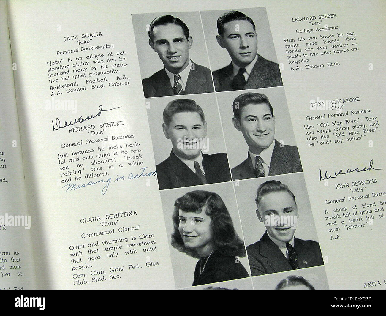 Casualties of war in the Bristol High School Class of 1942 and many other yearbooks across America during the Second World War. - Stock Image
