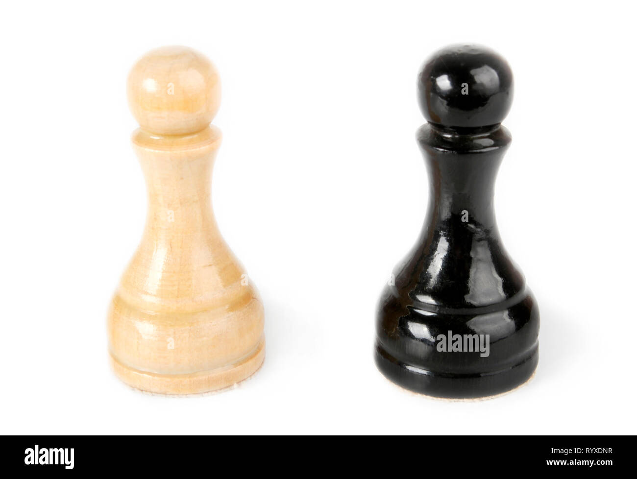 Black and white pawns isolated on white - Stock Image