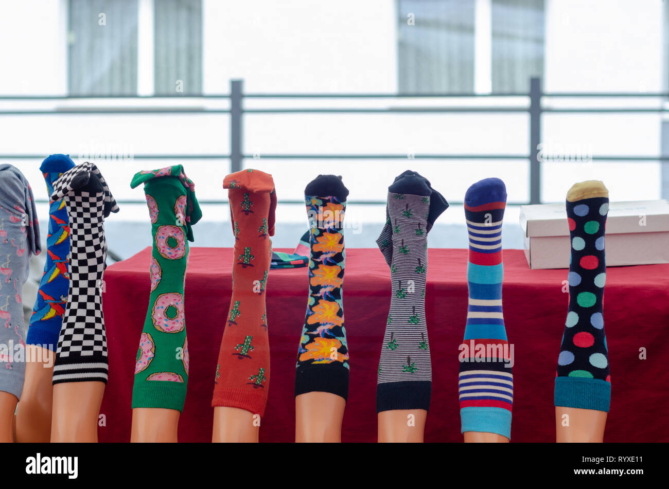 5299d2e5778 Colorful cotton and wool socks hanging for sale at the bazaar - Stock Image
