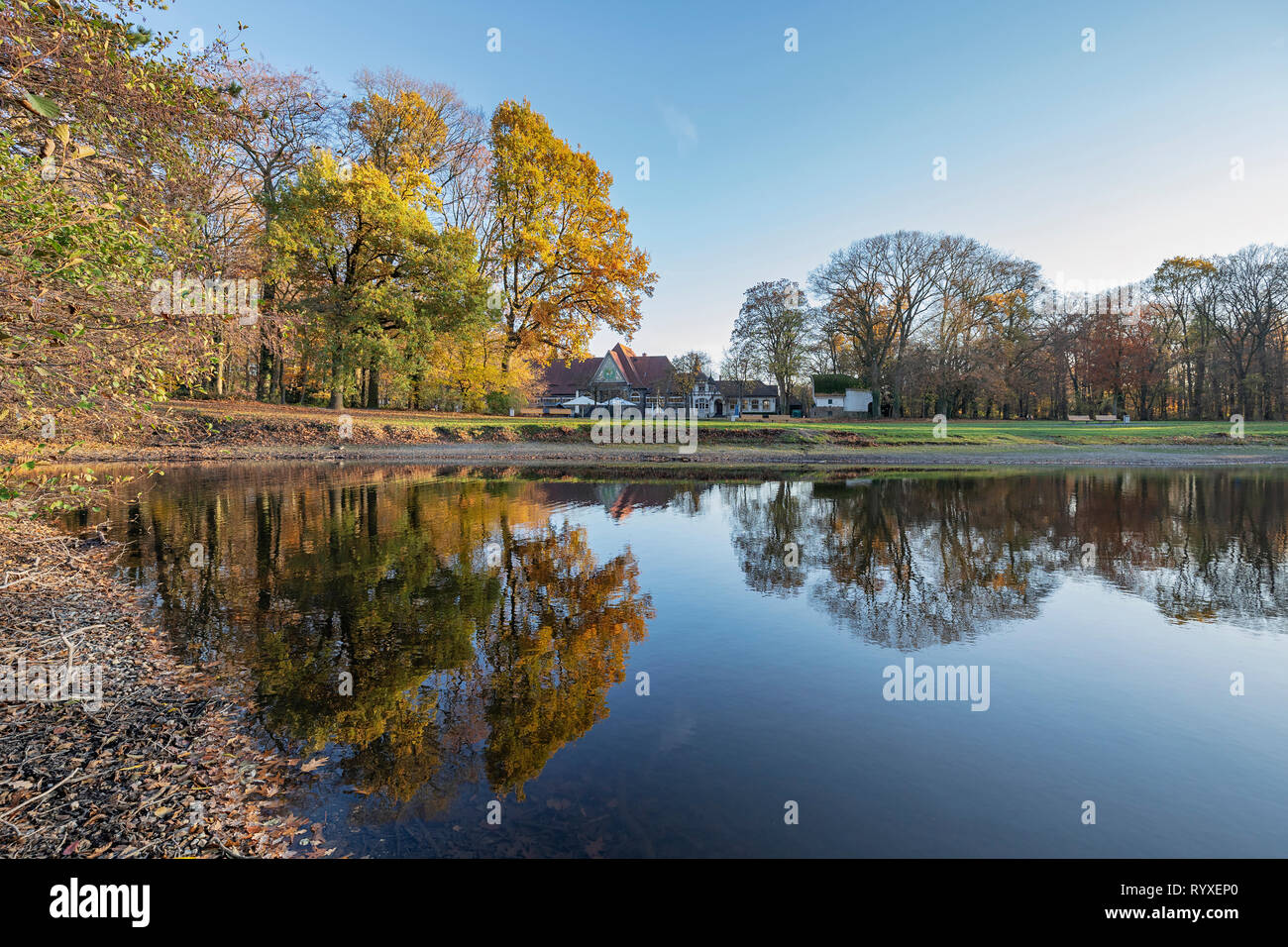 Krefeld - View to Stadtwald-House , North Rhine Westphalia, Germany, Krefeld, 15.11.2018 - Stock Image