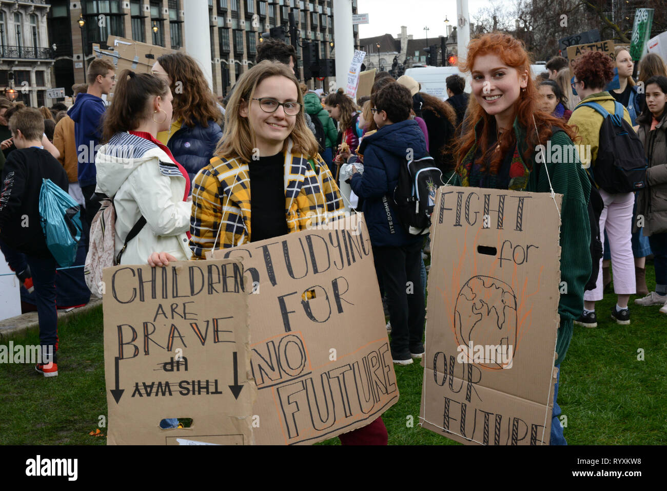 London, UK. 15th Mar, 2019. School climate strike March 15th 2019, London, Parliament Square: Swedish climate activist Greta Thunberg inspired UK students to protest climate change today by walking out of schools. Students are calling for the government to take action on global warming. Credit: Thomas Krych/Alamy Live News Stock Photo