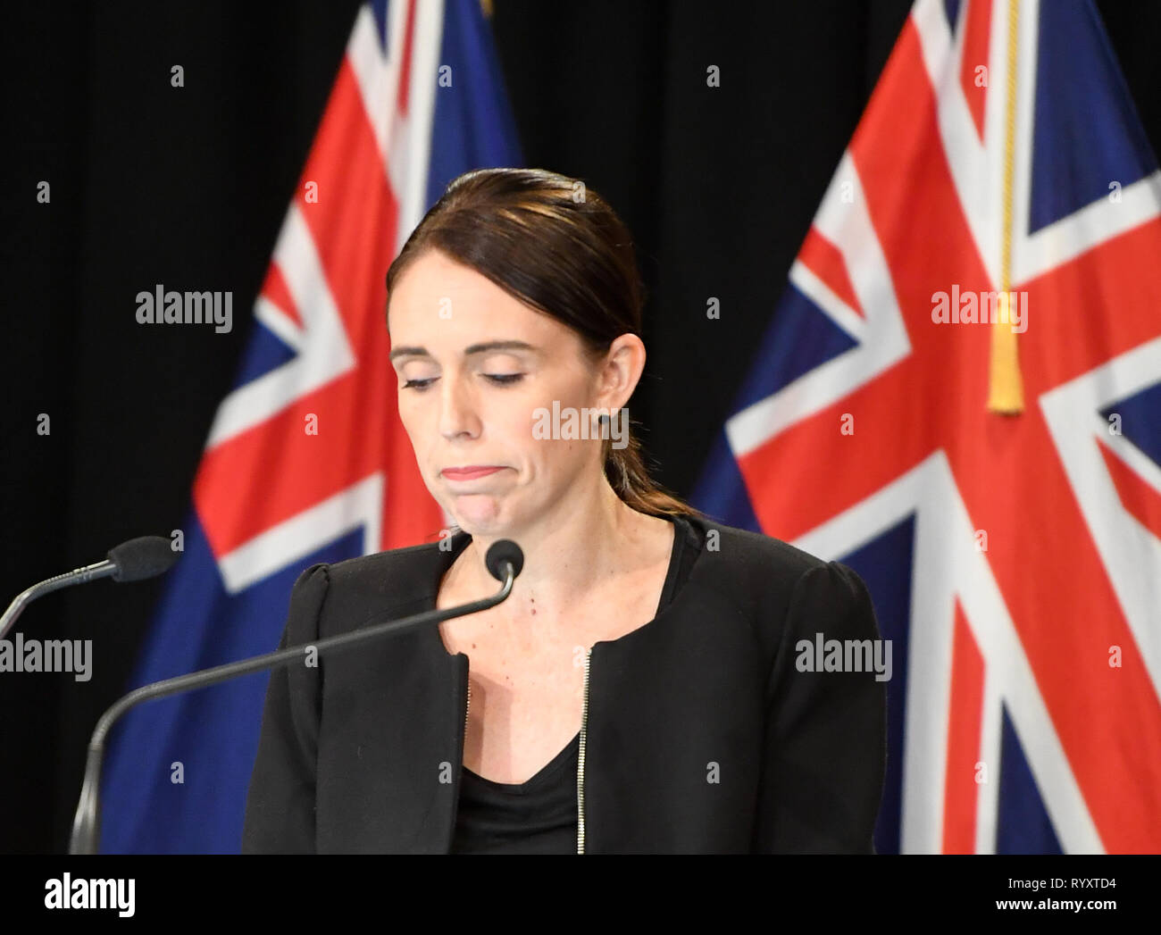 Wellington, New Zealand. 16th Mar, 2019. New Zealand Prime Minister Jacinda Ardern reacts during a briefing in Wellington, capital of New Zealand, on March 16, 2019. Jacinda Ardern reiterated to the public on Saturday morning that the country's gun law will be changed. Gunmen opened fire in two separate mosques in Christchurch on Friday, killing 49 people and wounding 48 others. Credit: Guo Lei/Xinhua/Alamy Live News - Stock Image