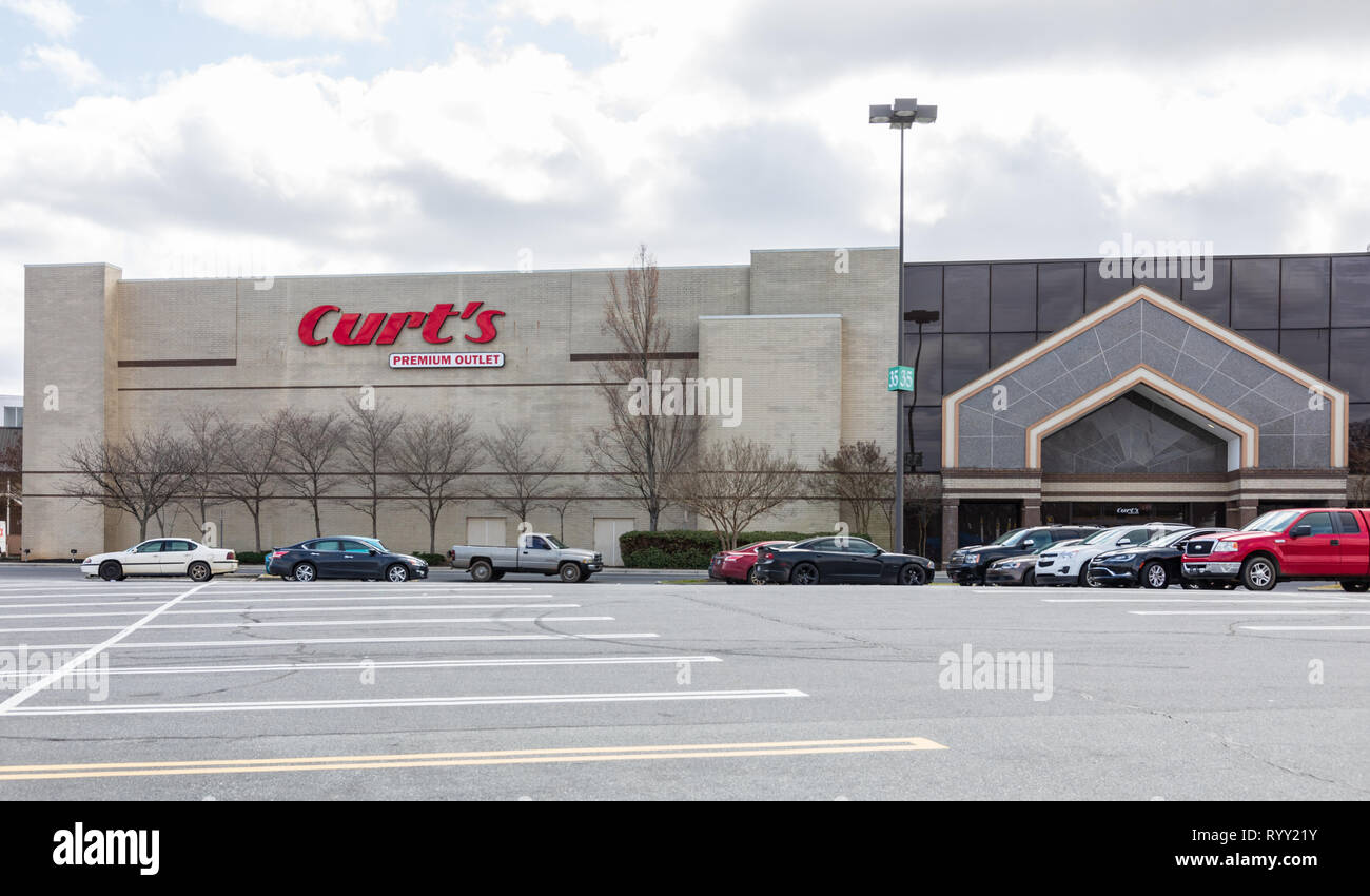GASTONIA, NC, USA-3/14/19: Curt's Premium Outlet store in Eastridge Mall. Stock Photo