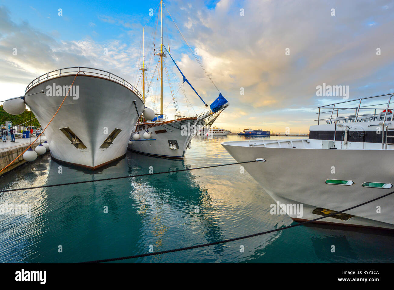 Boats, yachts, ships and ferries crowd the harbor on the Dalmatian Coast of the Adriatic Sea at the ancient port of Split, Croatia Stock Photo
