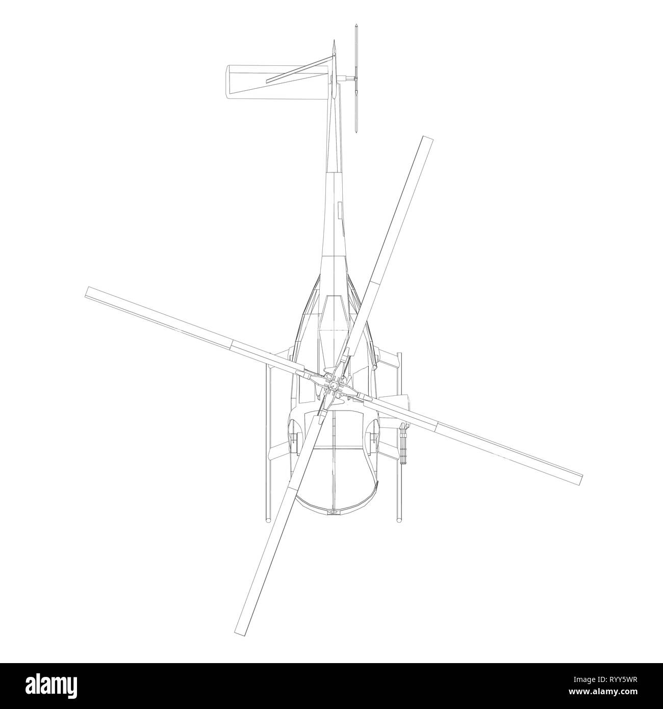 Contour of the black line helicopter isolated on white background. View from above. Vector illustration - Stock Image