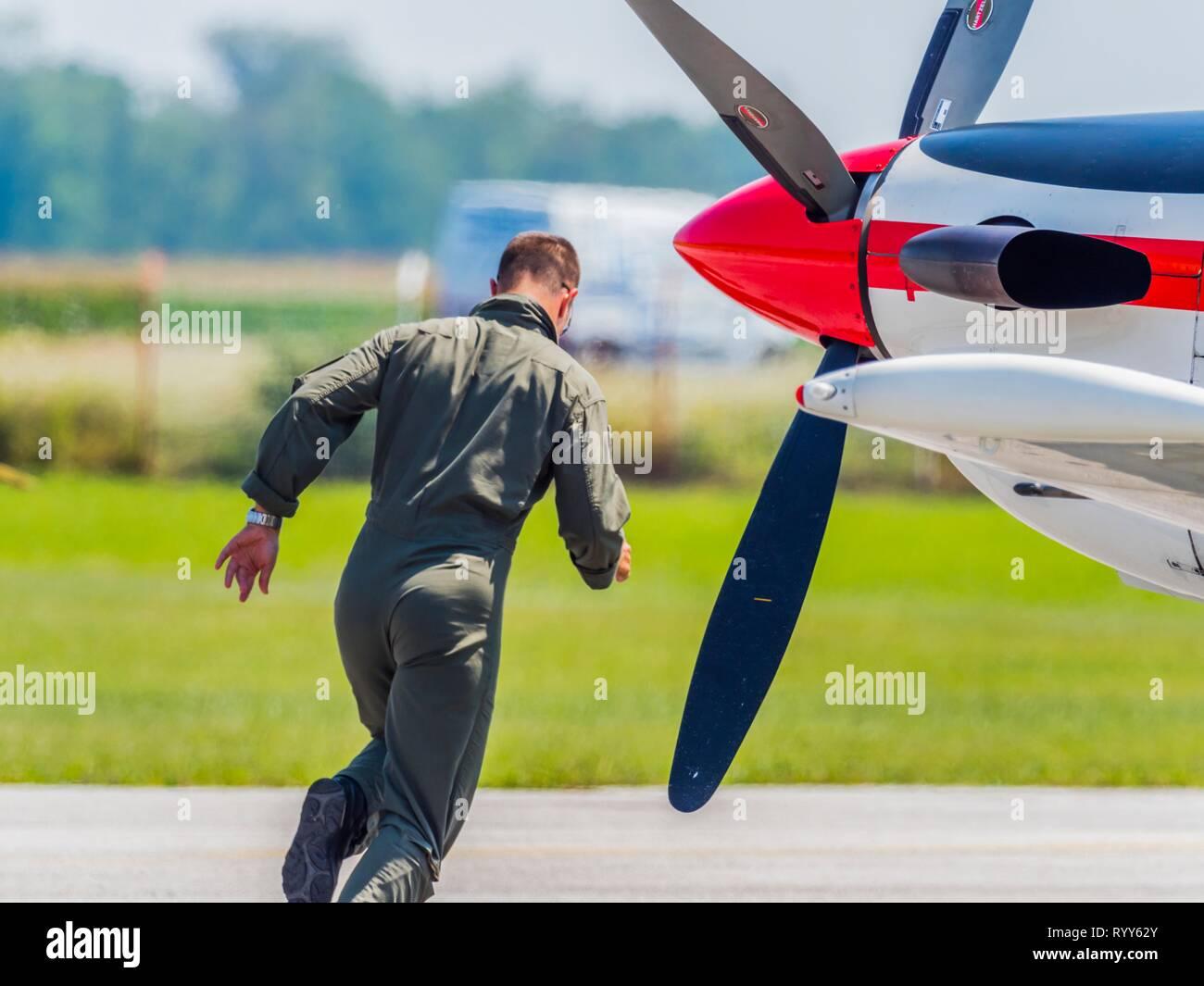 Pilatus PC9 PC-9 of Krila oluje Wings of storm aka scramble pilot running towards aircraft Stock Photo