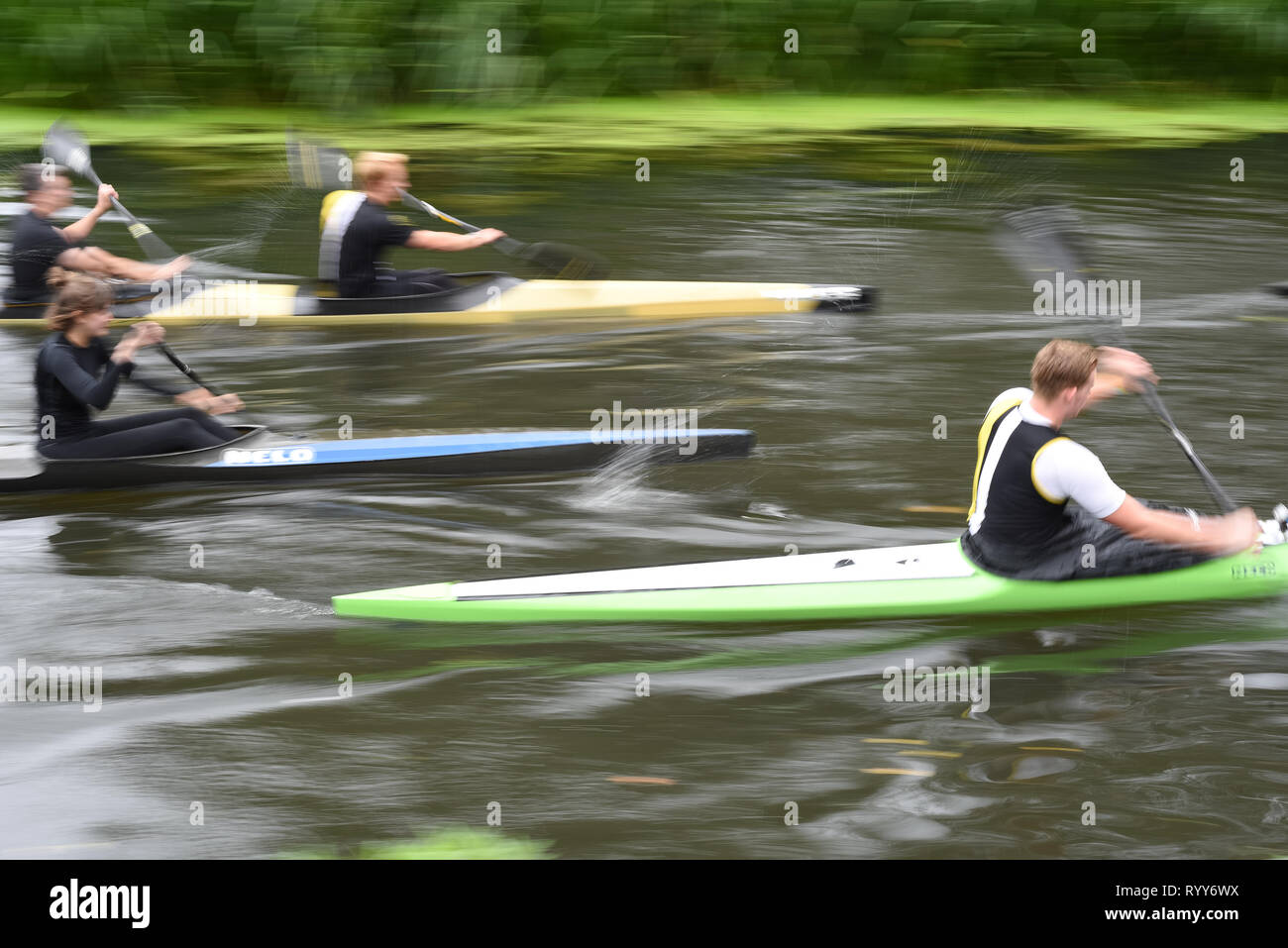 CHELMSFORD, ESSEX/ENGLAND - 18TH AUGUST 2018 - Rowers row their boats on the River Chelmer using the local waterways as part of their watersport activ - Stock Image