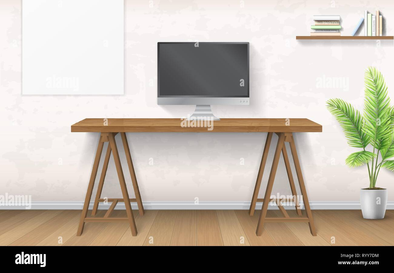 Interior with wooden desk and computer. - Stock Vector