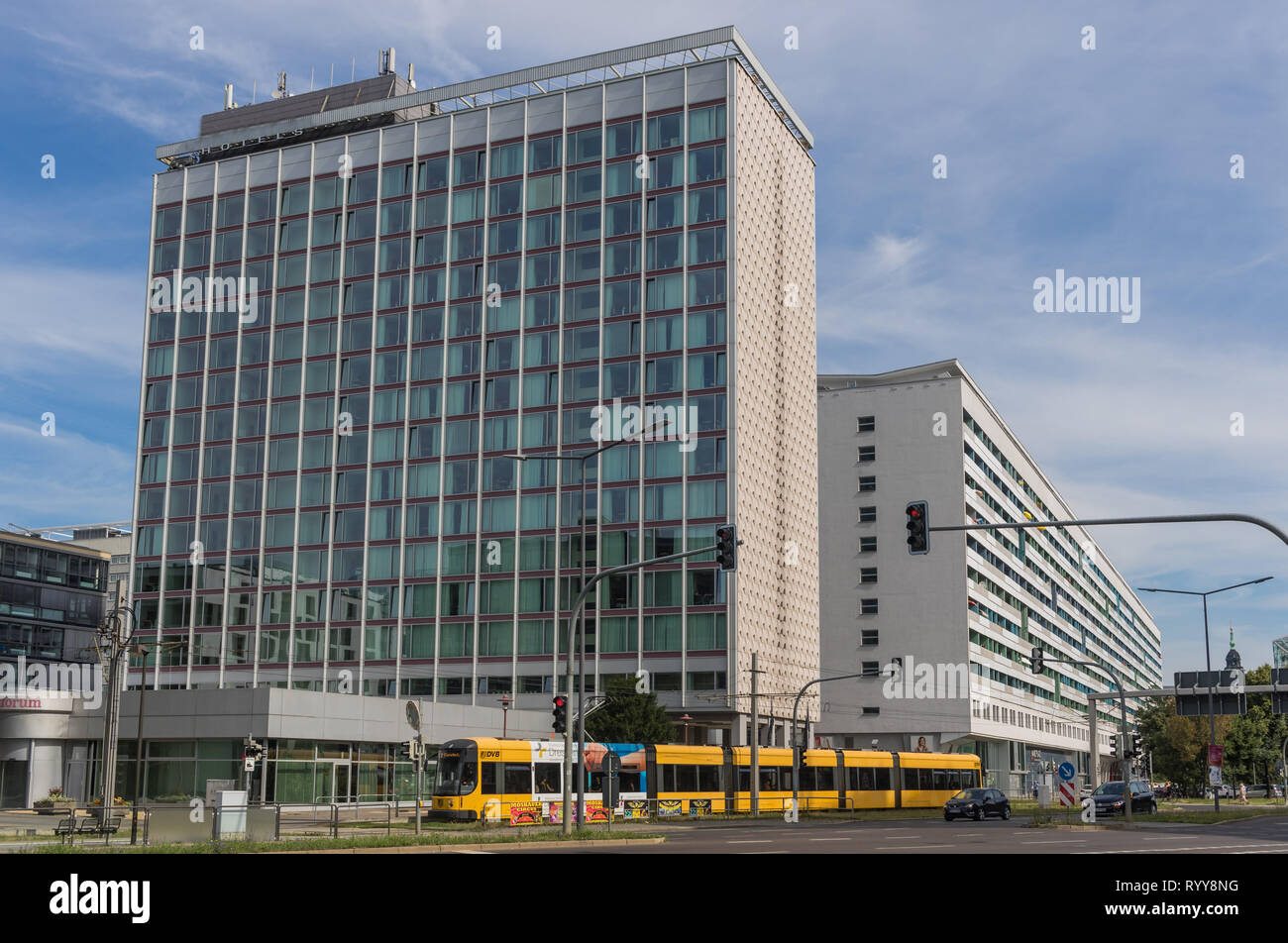 Dresden, Germany - right beside the Czech border, and once part of East Germany, Dresden still presents a great number of Soviet Style buildings Stock Photo