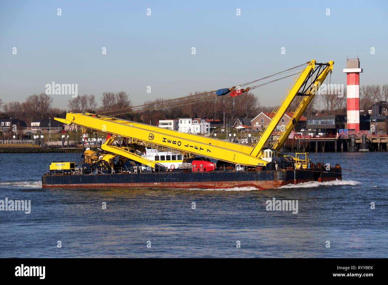 The Hebo Lift 7 crane ship will reach the port of Rotterdam on 15 February 2019. - Stock Image