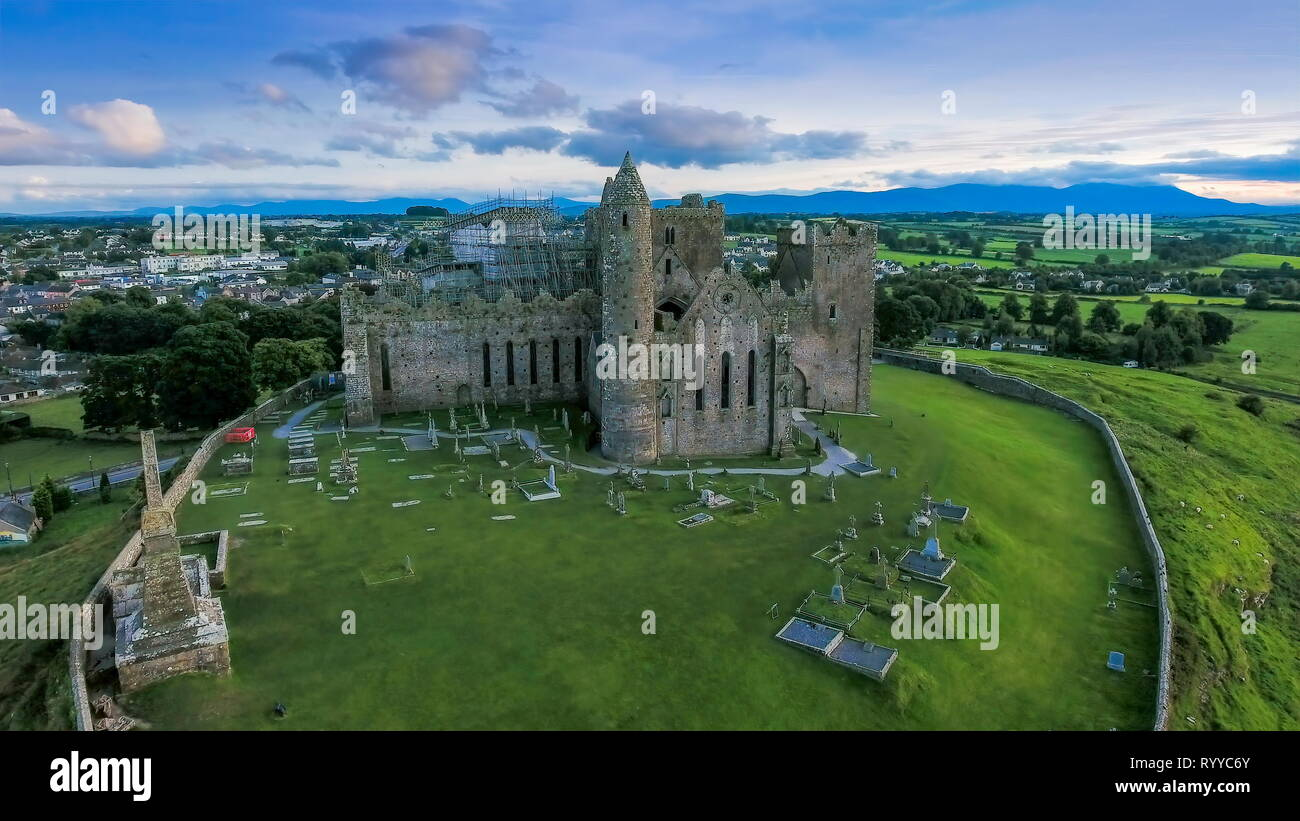 The old ruined Rock of Cashel it is a ruined castle that is one of the most visited places in Ireland - Stock Image