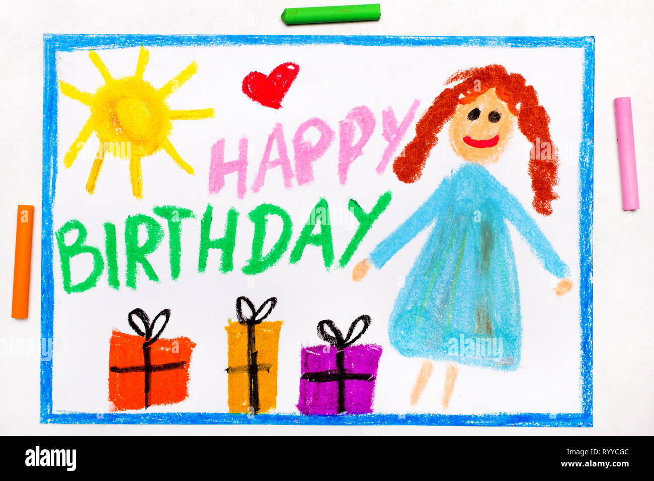 Strange Colorful Drawing Happy Birthday Card With Smiling Girl Stock Personalised Birthday Cards Bromeletsinfo