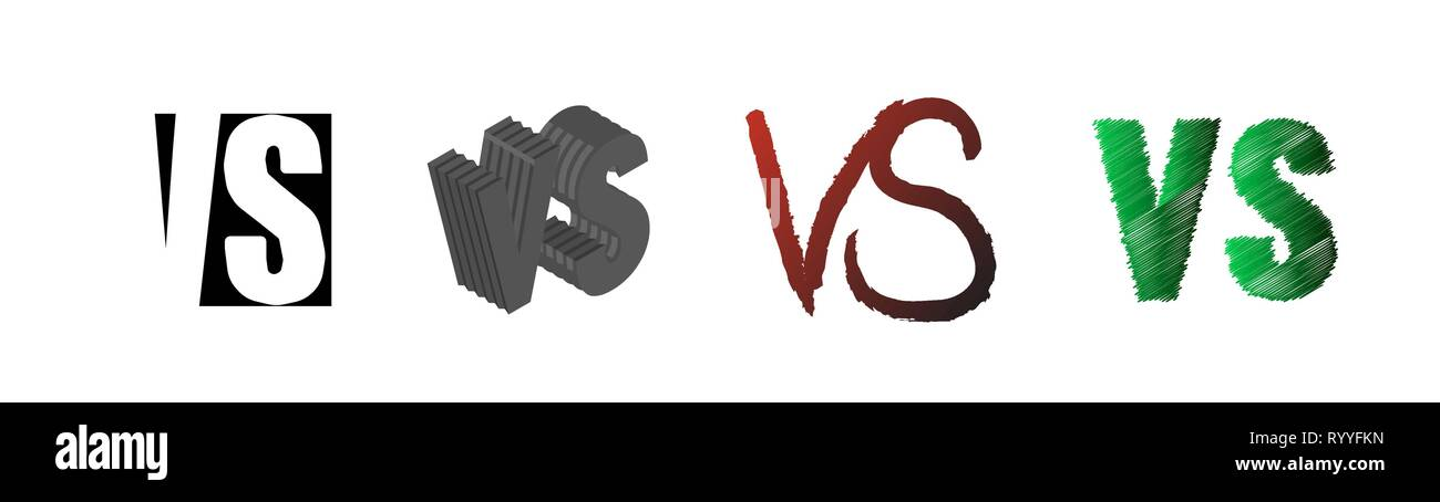 Set of symbol competition VS. Versus text letters. Vector illustration. Isolated on white background. EPS8 - Stock Vector