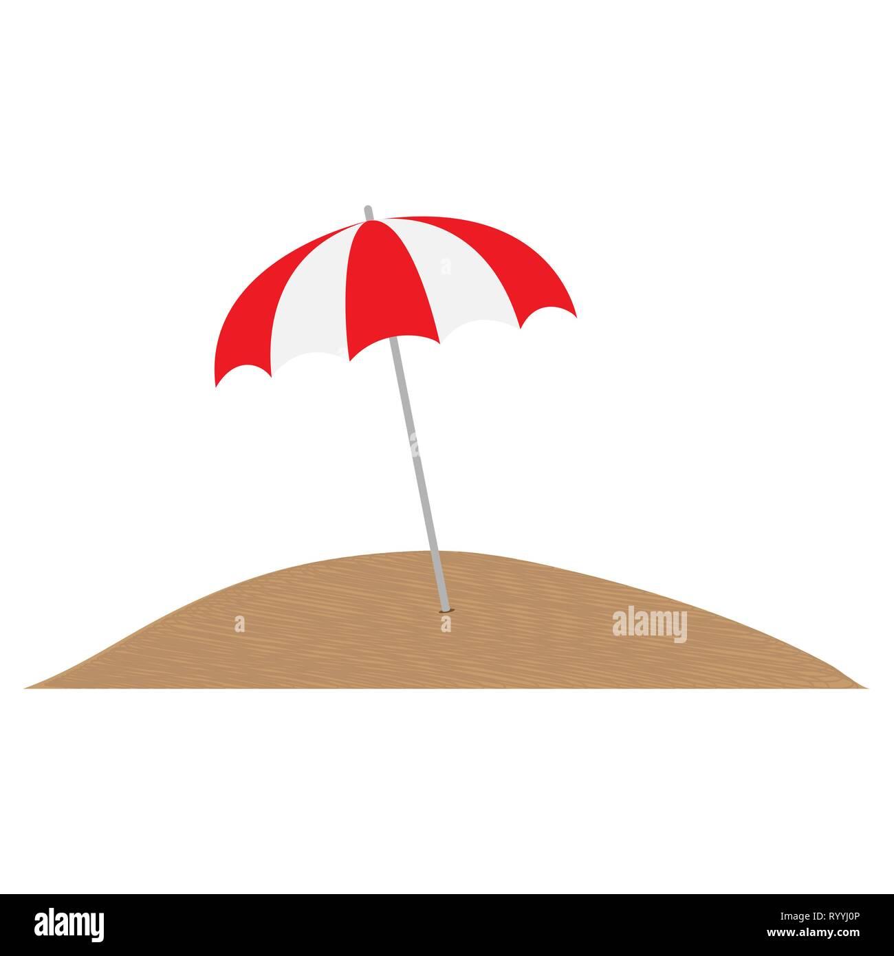 Multi-colored umbrella from the sun in the sand, simple design - Stock Vector