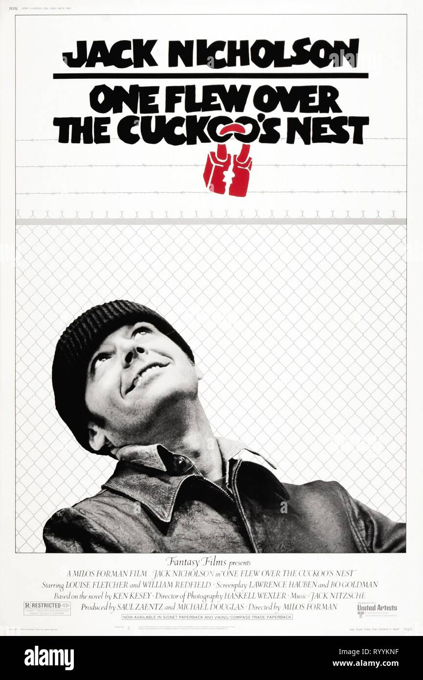 JACK NICHOLSON POSTER, ONE FLEW OVER THE CUCKOO'S NEST, 1975 - Stock Image