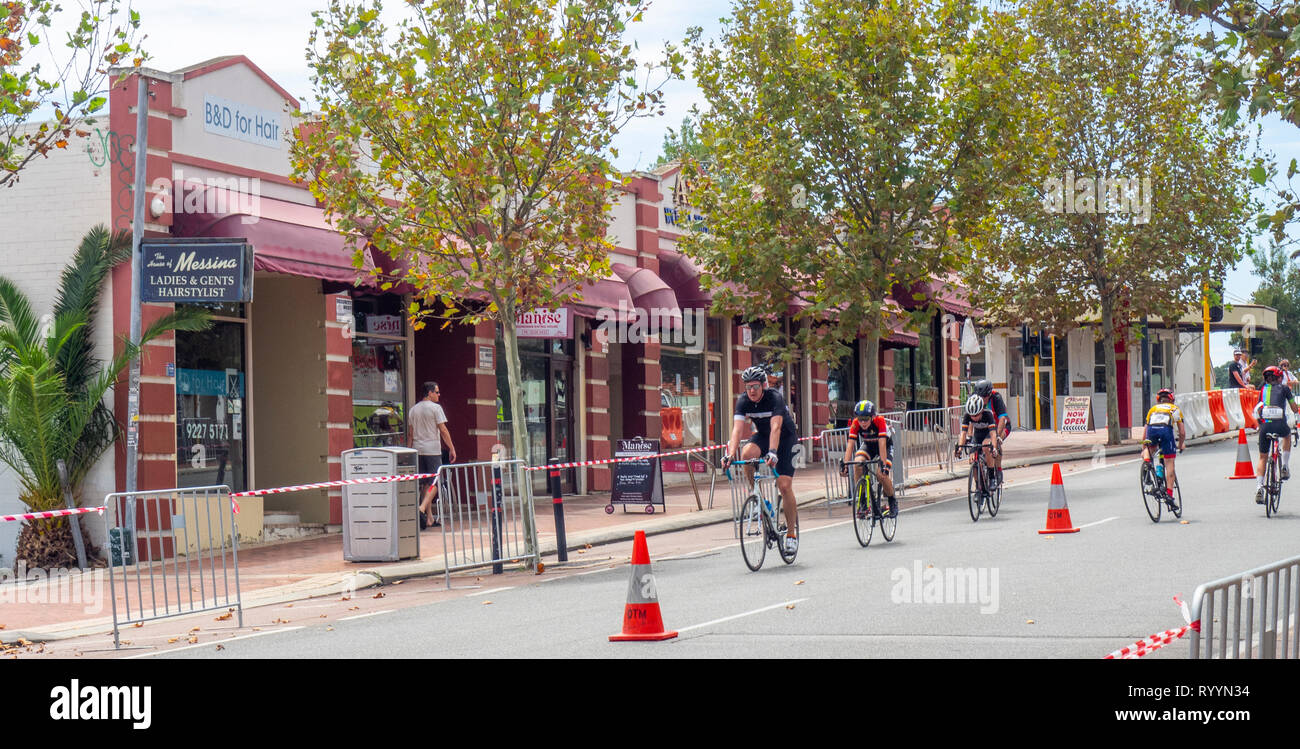 Cyclists racing in The Ring Summer Criterium Series, road bike races in Northbridge March 2019, Perth WA Australia. Stock Photo