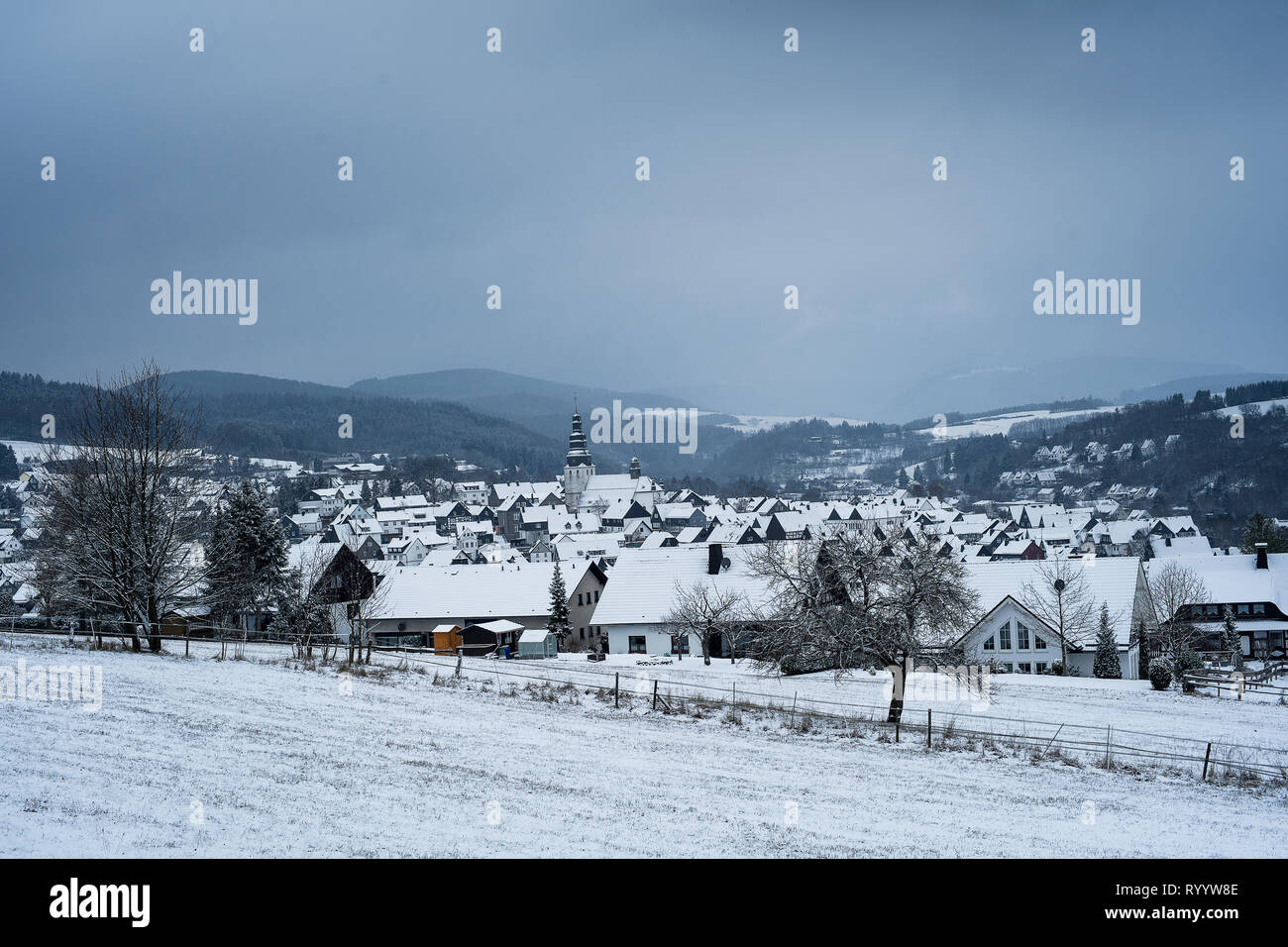 Landscape from the german city Hallenberg - Stock Image