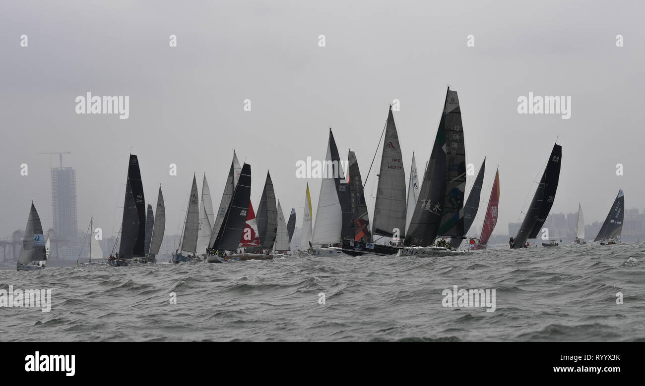 Haikou, China's Hainan Province. 16th Mar, 2019. Yachts wait for the start of the Haikou Offshore Race at the 2019 Round Hainan Regatta in Haikou, capital of south China's Hainan Province, March 16, 2019. Credit: Yang Guanyu/Xinhua/Alamy Live News - Stock Image