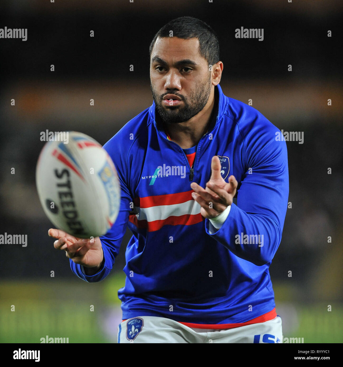 Hull, UK, 15 3 2019. 15 March 2019. KCOM Stadium, Hull, England; Rugby League Betfred Super League, Hull FC vs Wakefield Trinity; Bill Tupou in warm up.  Dean Williams Credit: Dean Williams/Alamy Live News Stock Photo