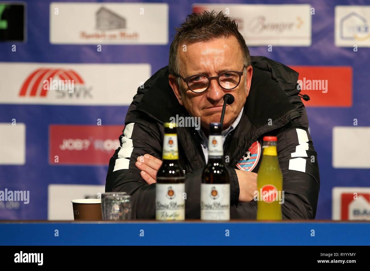 Duisburg, Deutschland. 15th Mar, 2019. firo: 15.03.2019 Football, 3. Bundesliga, Season 2018/2019 KFC Uerdingen 05 - SC Fortuna Köln coach Norbert Meier (#NM, KFC Uerdingen 05) not quite satisfied. | usage worldwide Credit: dpa/Alamy Live News - Stock Image