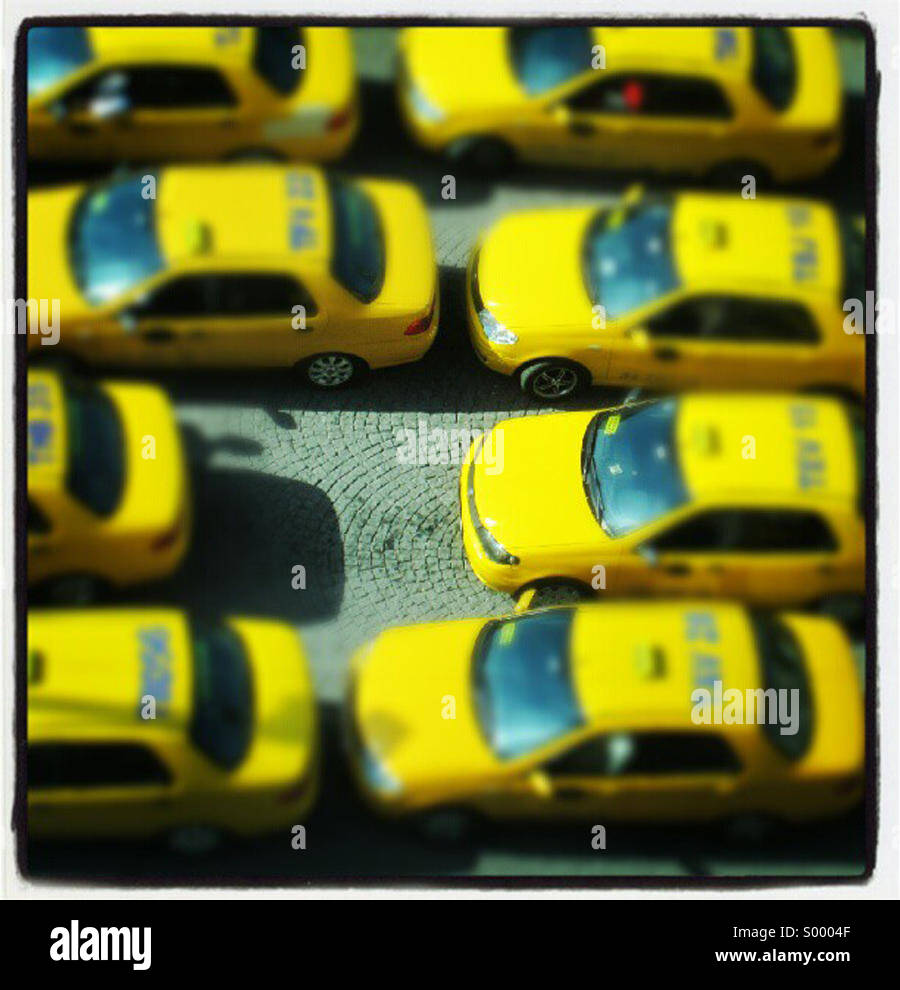Crowded traffic jam of taxis - Stock Image