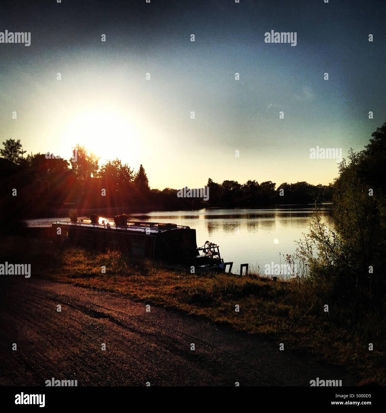 Sunset overlooking the river Thames, Oxford, UK - Stock Image