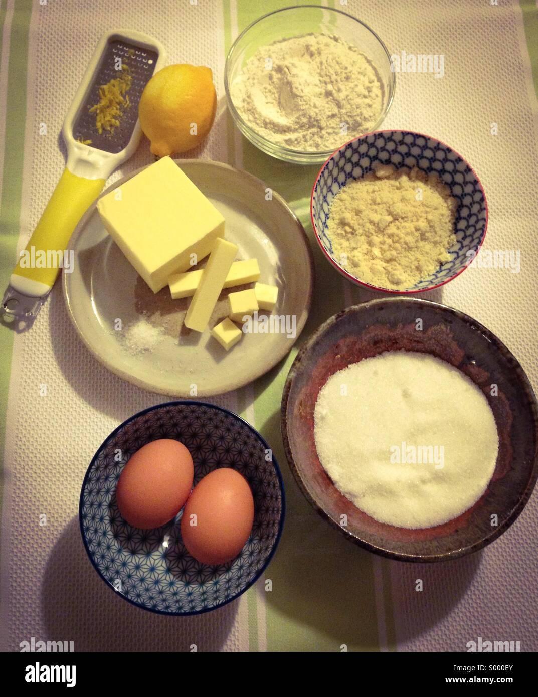 Shortcrust pastry ingredients - Stock Image