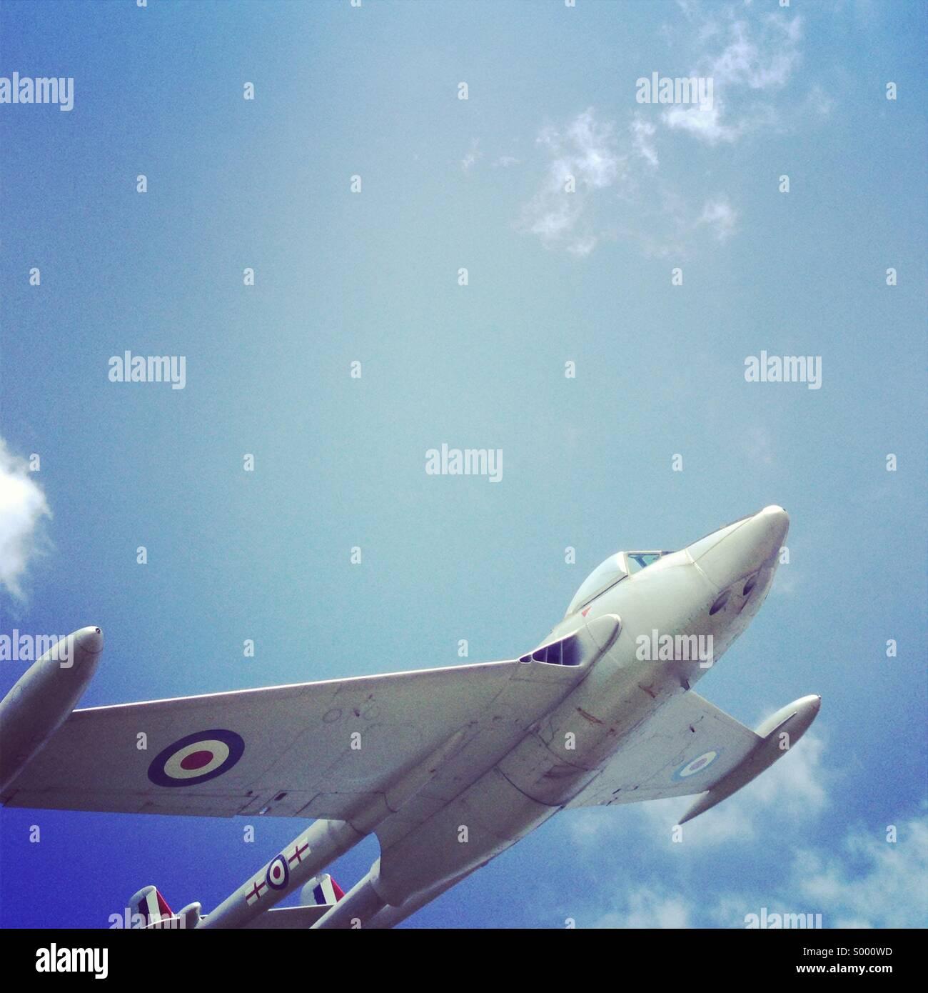 DH venom aeroplane at grove airfield, Wantage, Oxfordshire UK. - Stock Image