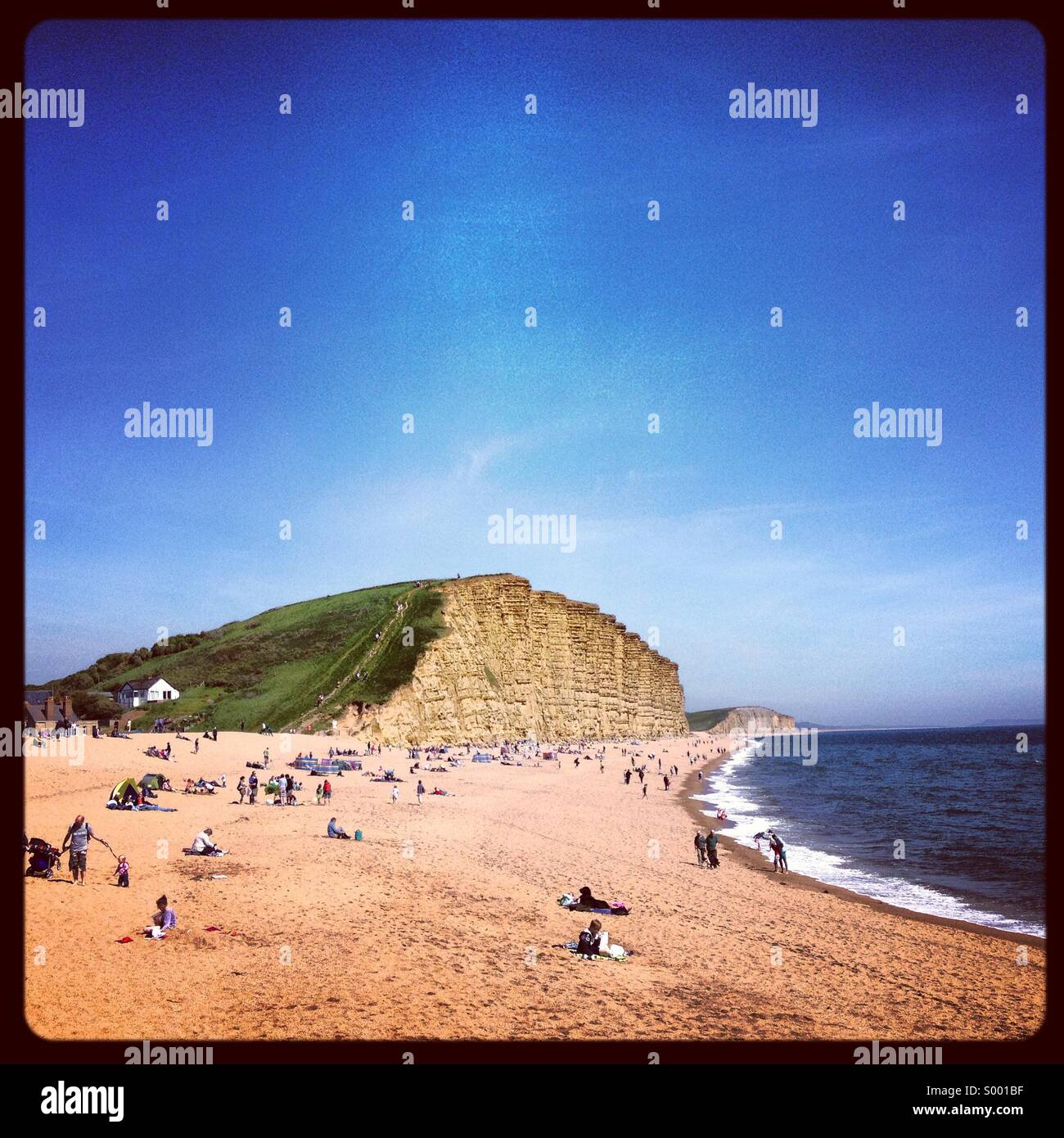 Beach and cliffs at West Bay ,Bridport, West Dorset, England - Stock Image