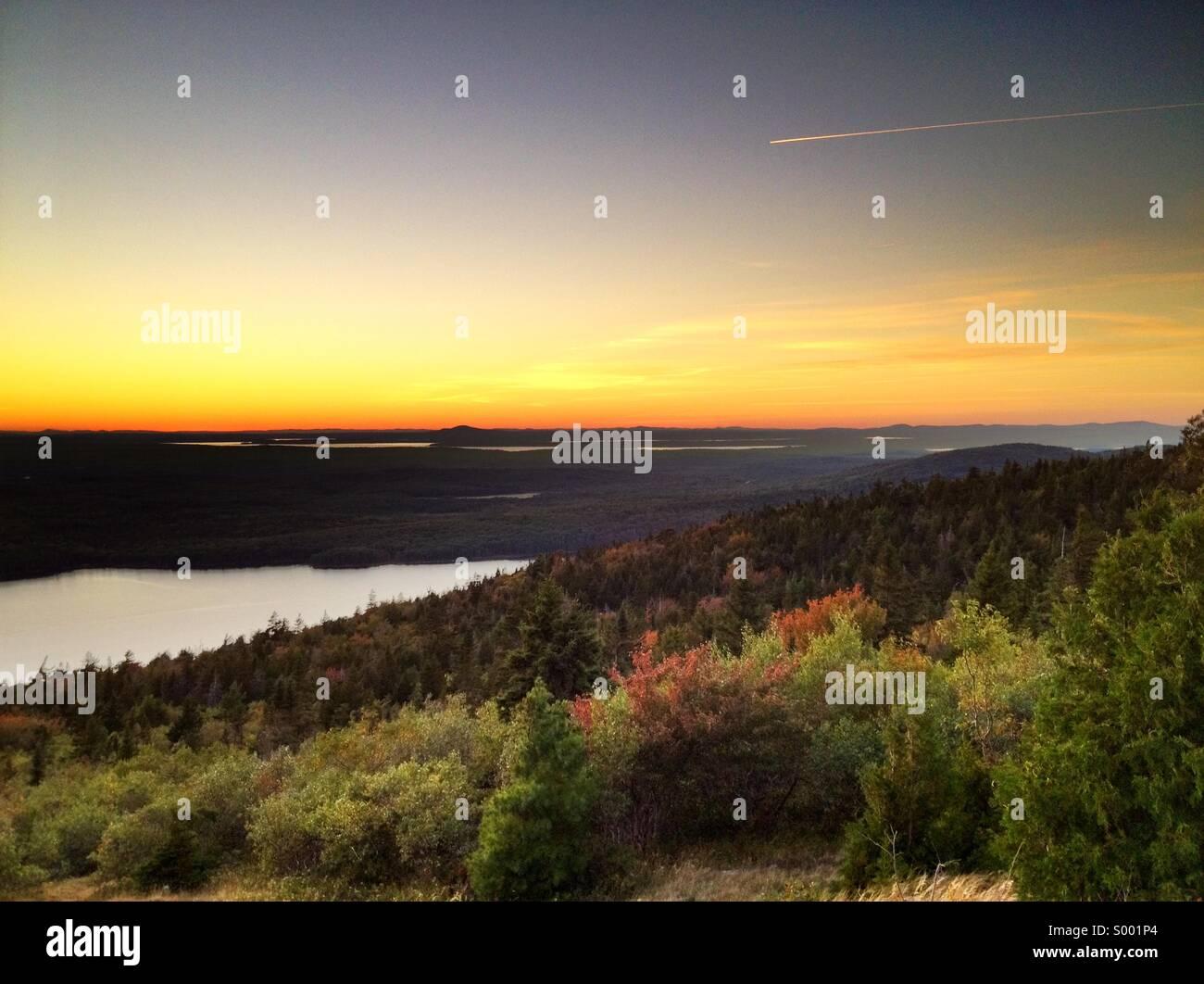 Sunset on Cadillac Mountain, USA Stock Photo