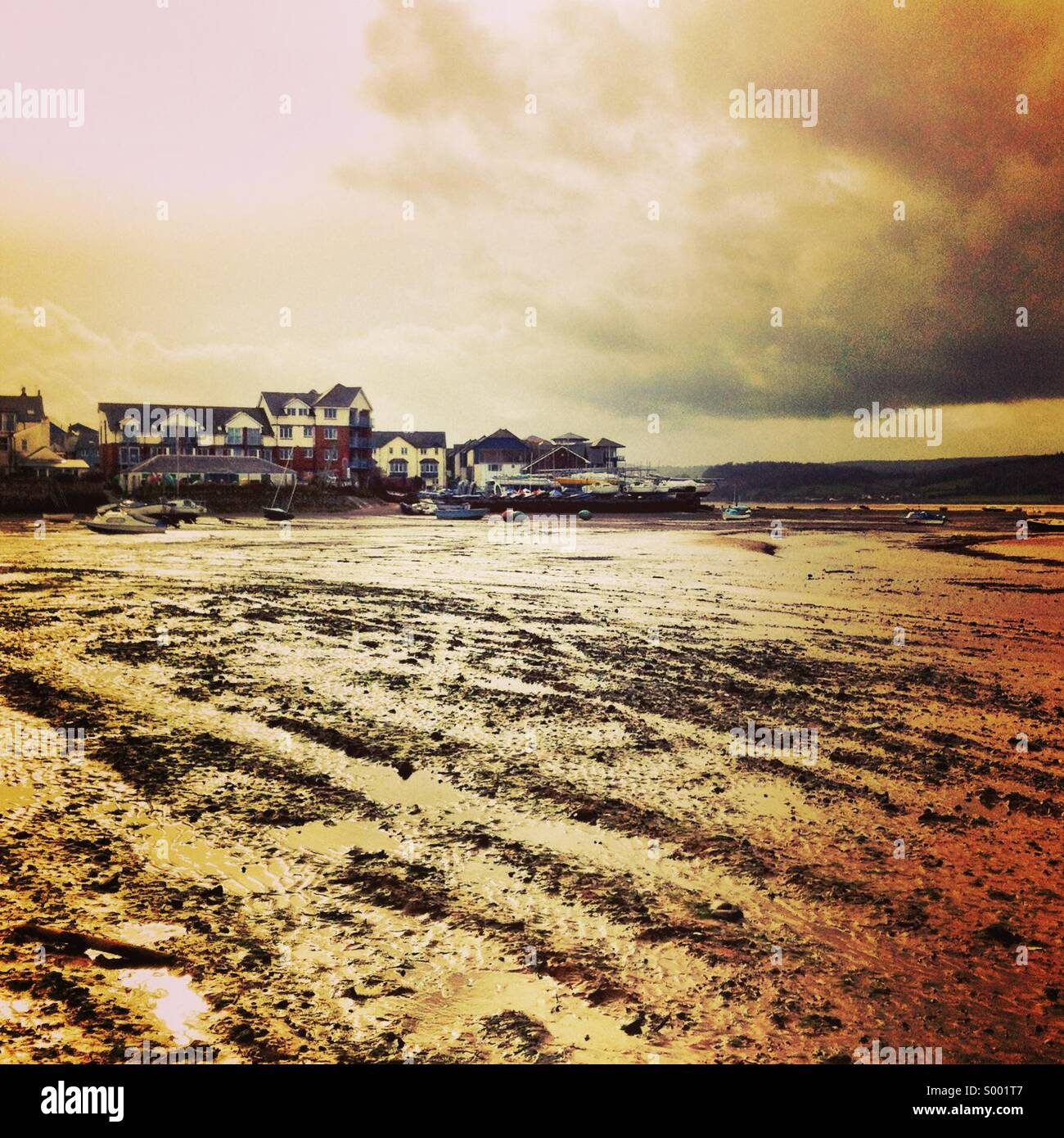 Stormy day on the exe estuary, exmouth - Stock Image