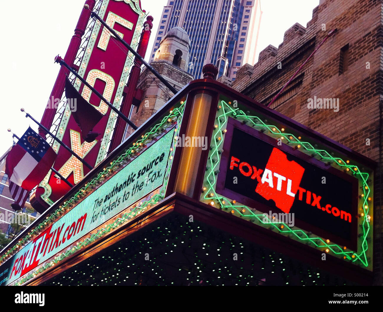 The historic Fox Theatre, a performing arts venue on Peachtree Street in the heart of Atlanta, Georgia, is a beloved - Stock Image