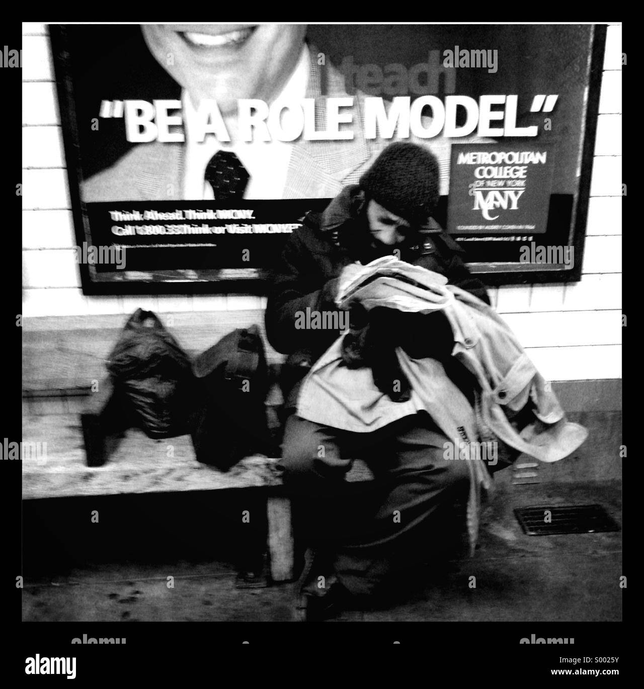 Be a role model, New York subway - Stock Image