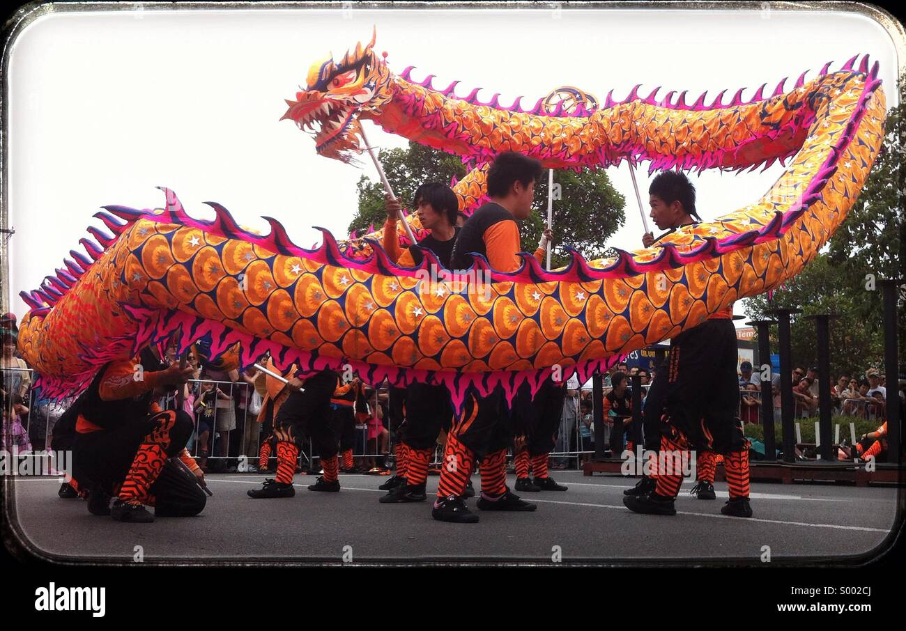 Chinese New Year dragon dance, Melbourne, Australia. - Stock Image