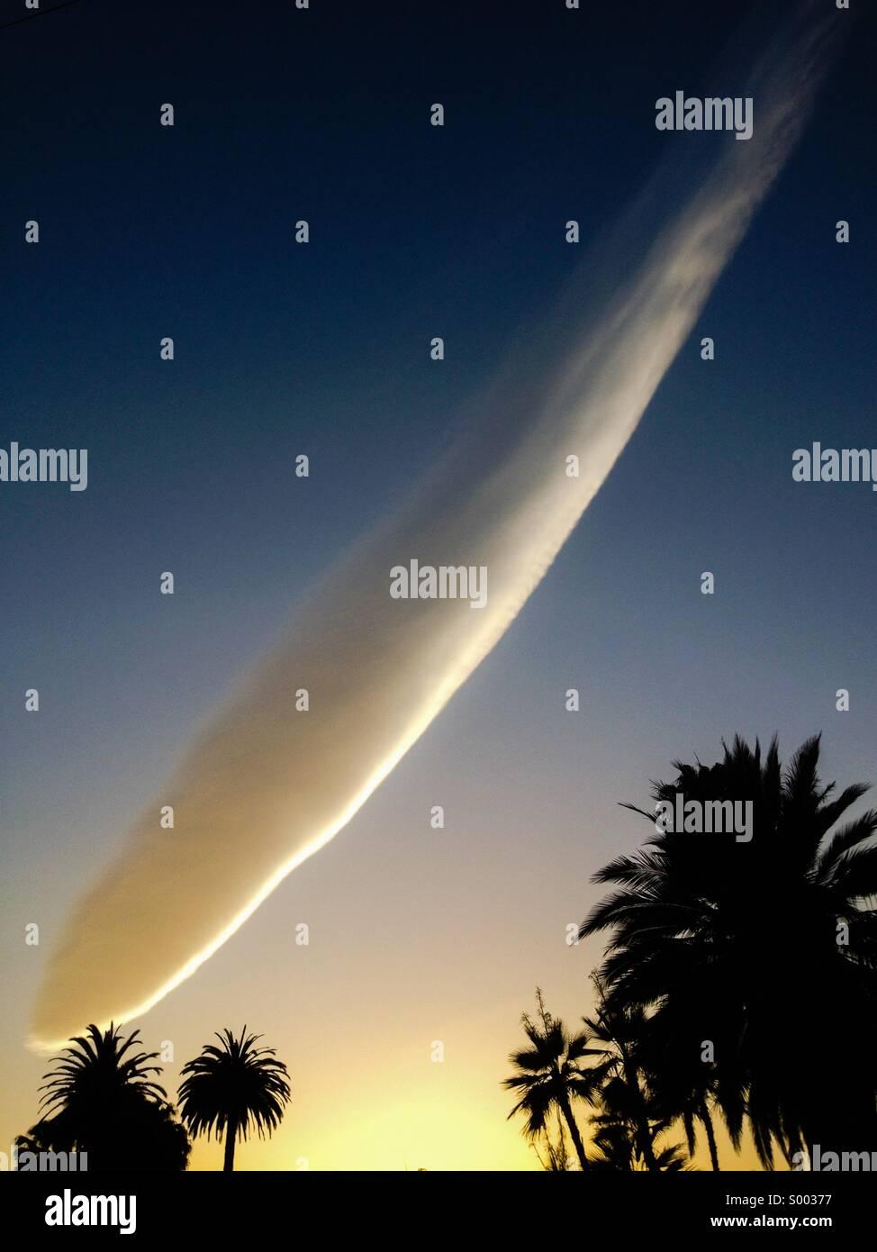 Wing like cloud formation over Santa Barbara, CA, USA - Stock Image