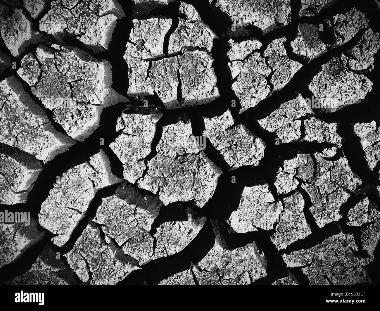 Cracked, parched earth. - Stock Image