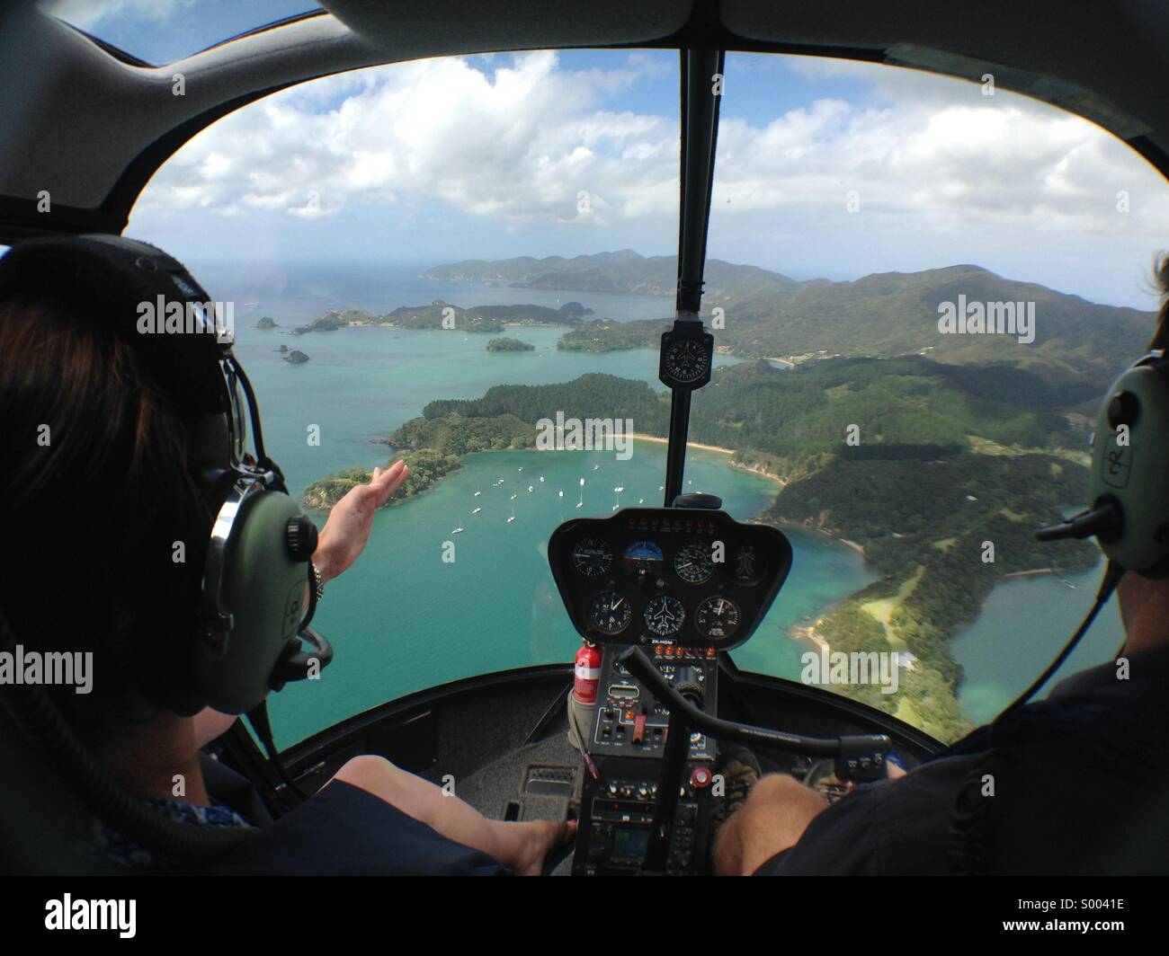 An aerial view of the Bay Of islands in New Zealand's North Island. January 2014 - Stock Image
