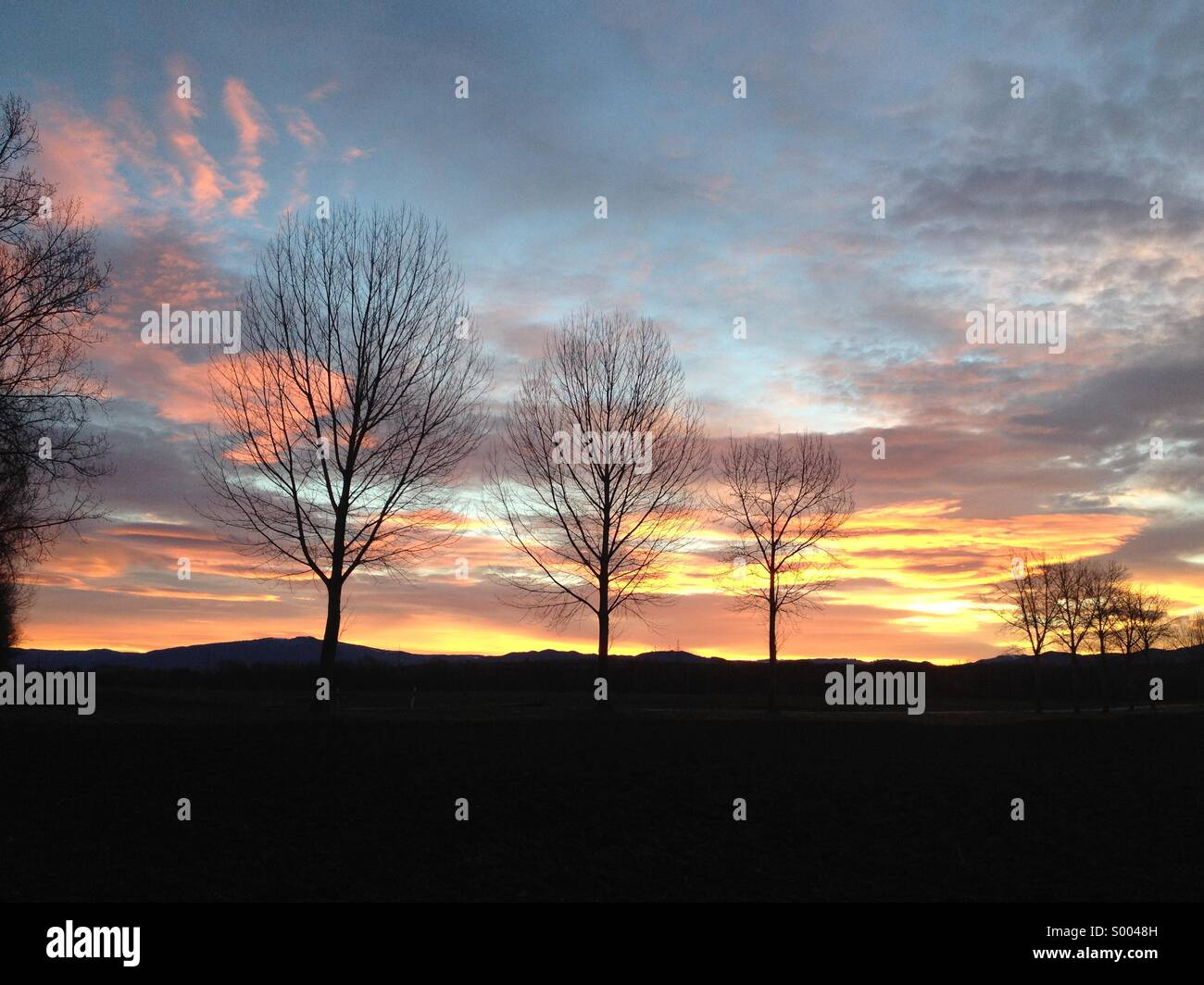 Sunrise in South-West Germany - Stock Image